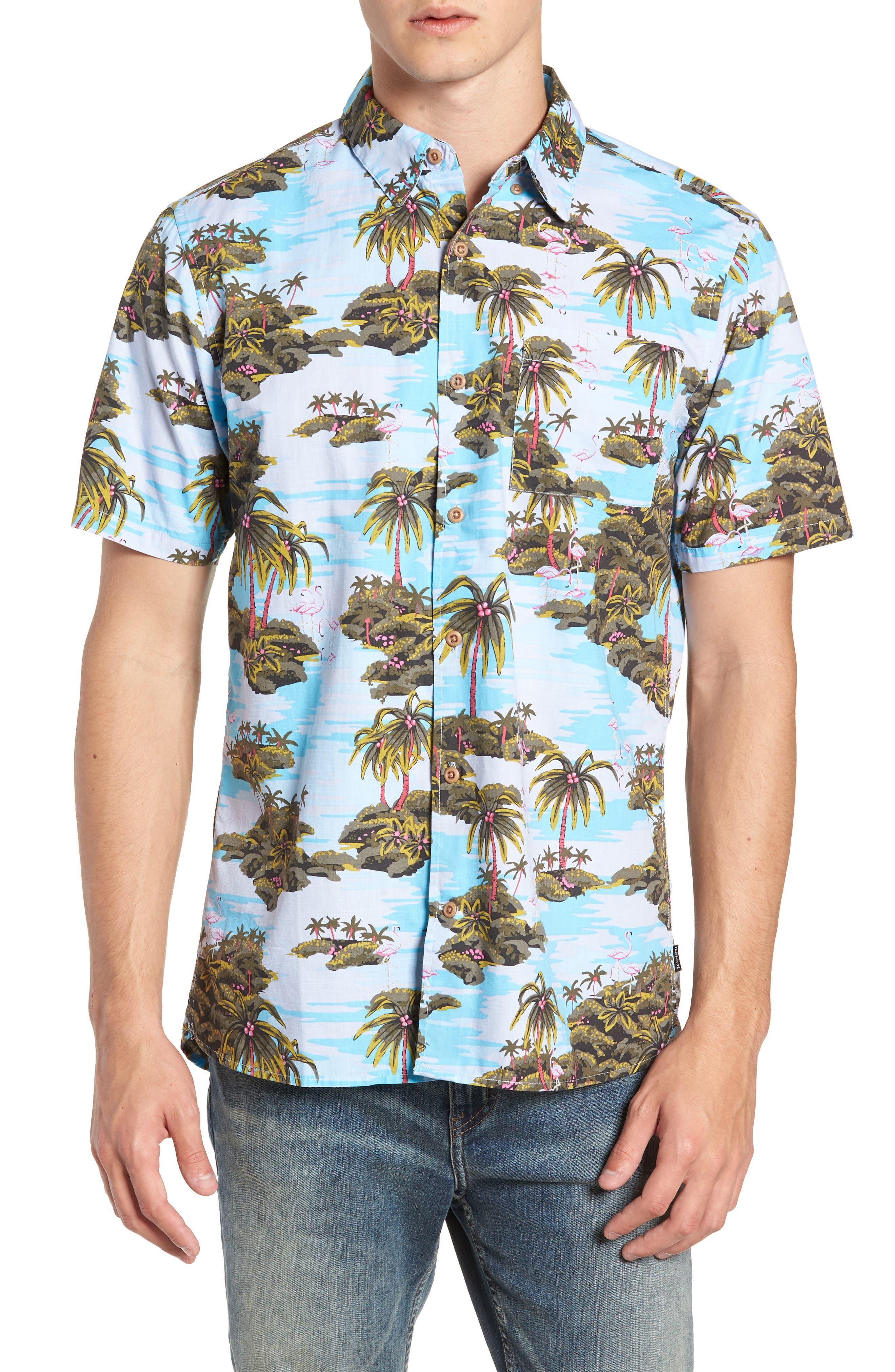 Garage Palm Tree Woven Shirt,                         Main,                         color, OCEAN BLISS