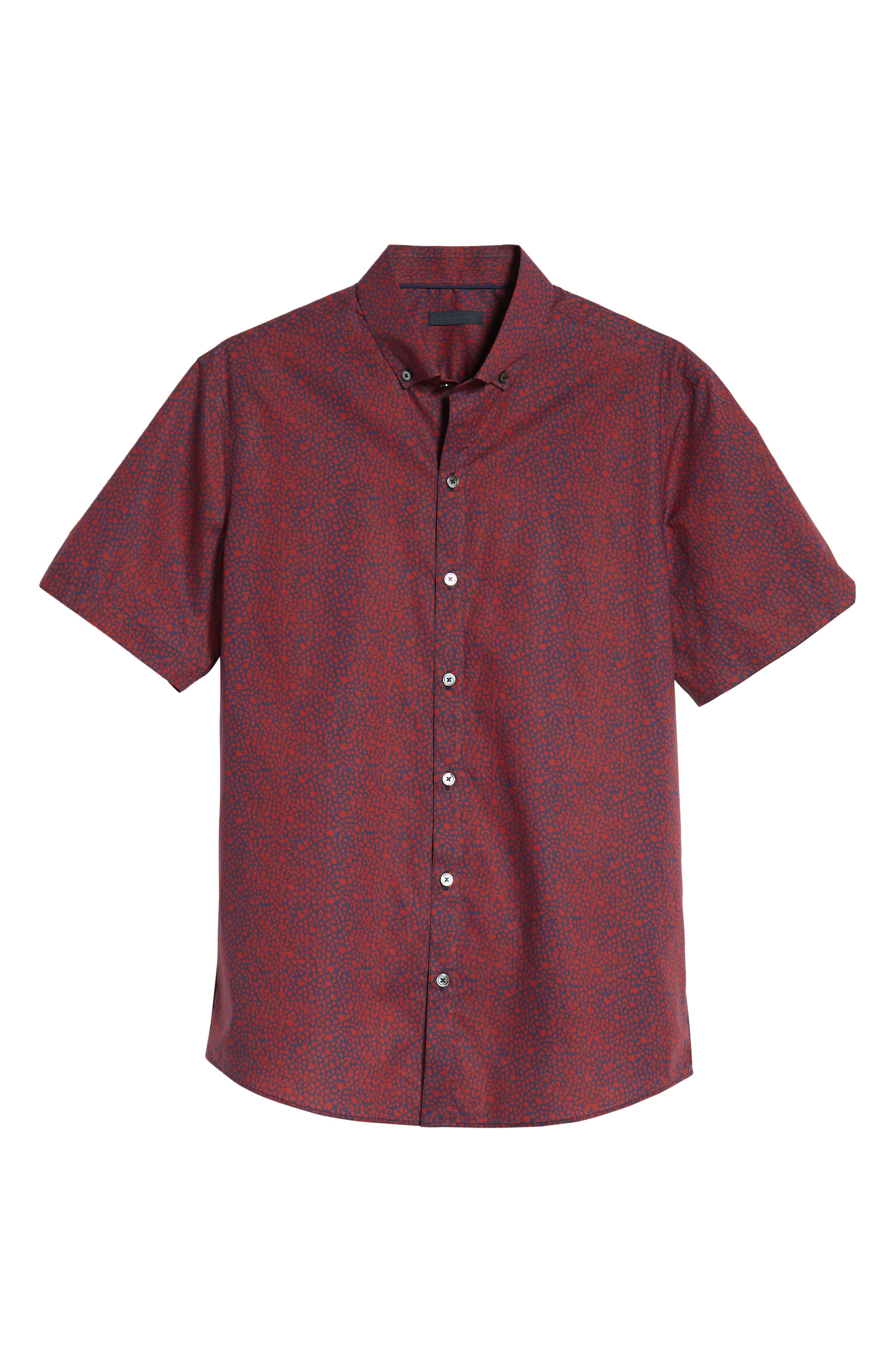 Lyons Regular Fit Print Sport Shirt,                             Alternate thumbnail 5, color,                             RED