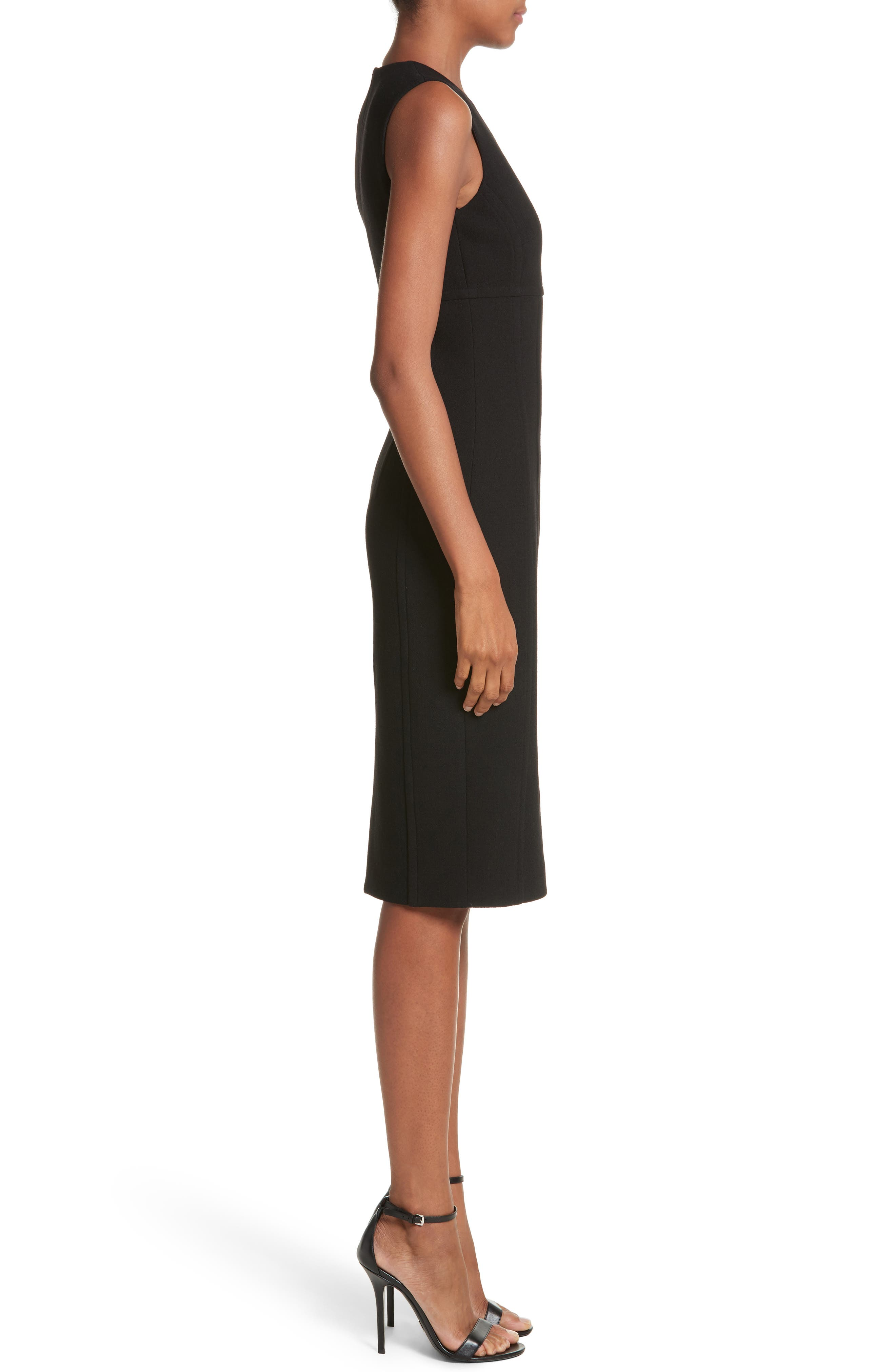 Stretch Bouclé Crepe Sheath Dress,                             Alternate thumbnail 3, color,                             001