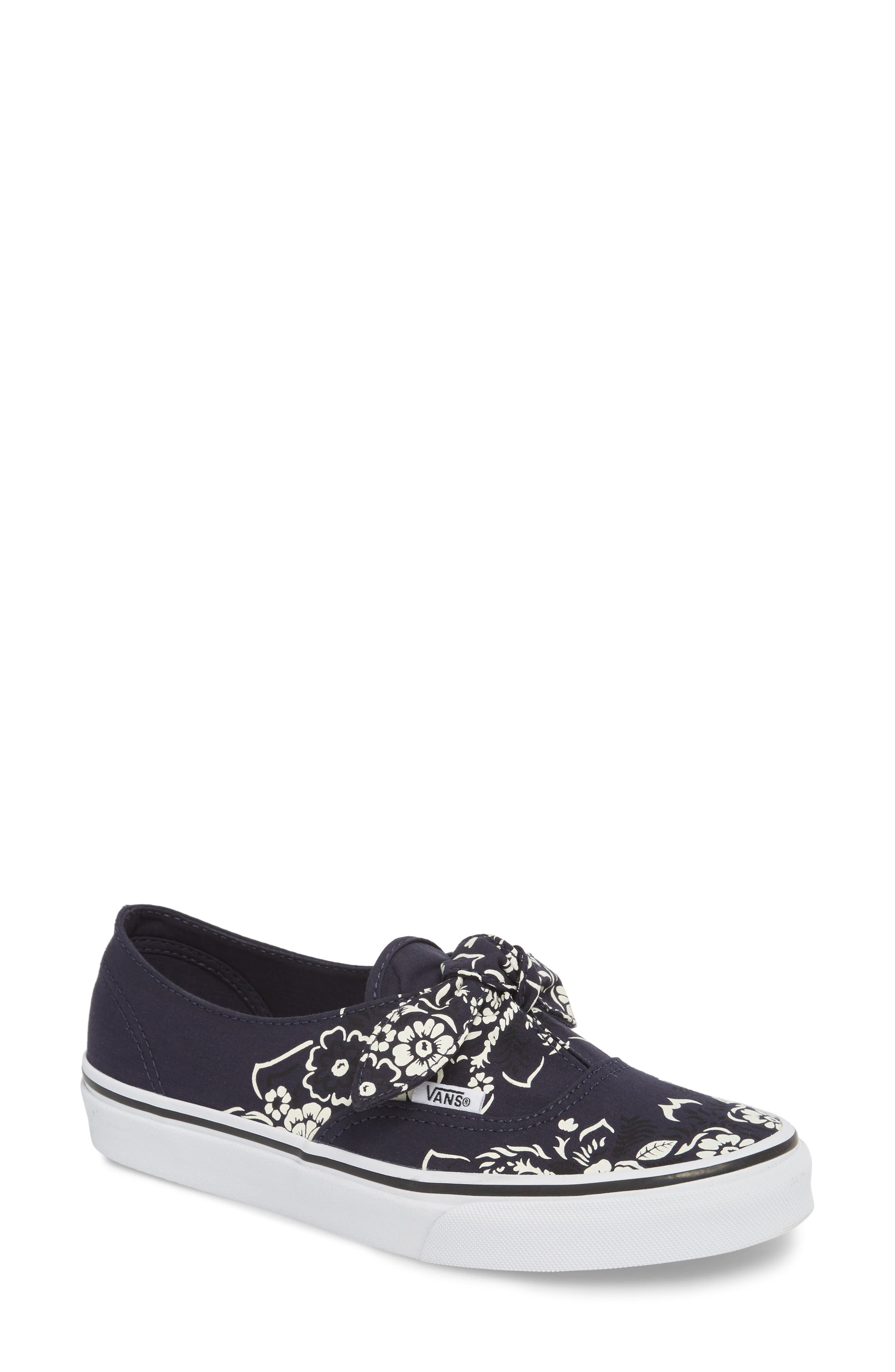 UA Authentic Knotted Floral Bandana Slip-On Sneaker,                         Main,                         color, PARISIAN NIGHT/ TRUE WHITE
