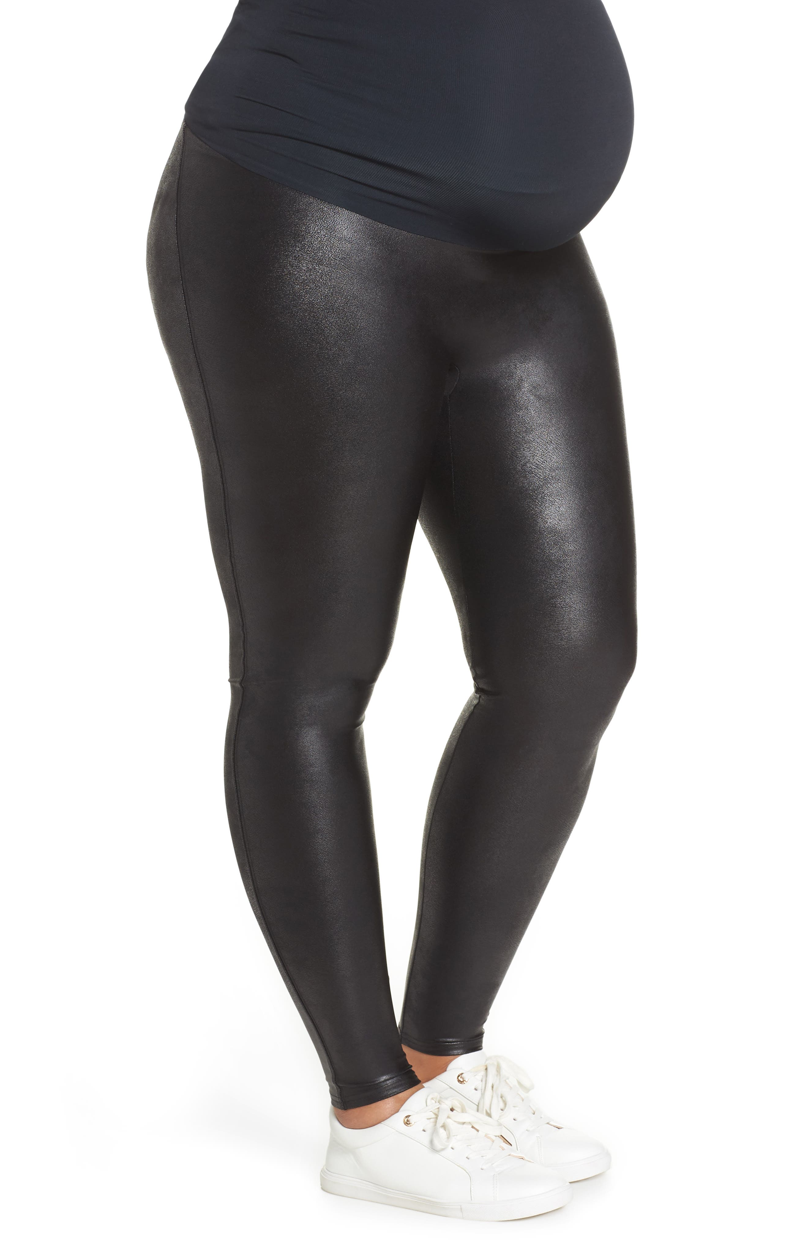 Mama High Rise Faux Leather Maternity Leggings,                             Alternate thumbnail 3, color,                             VERY BLACK
