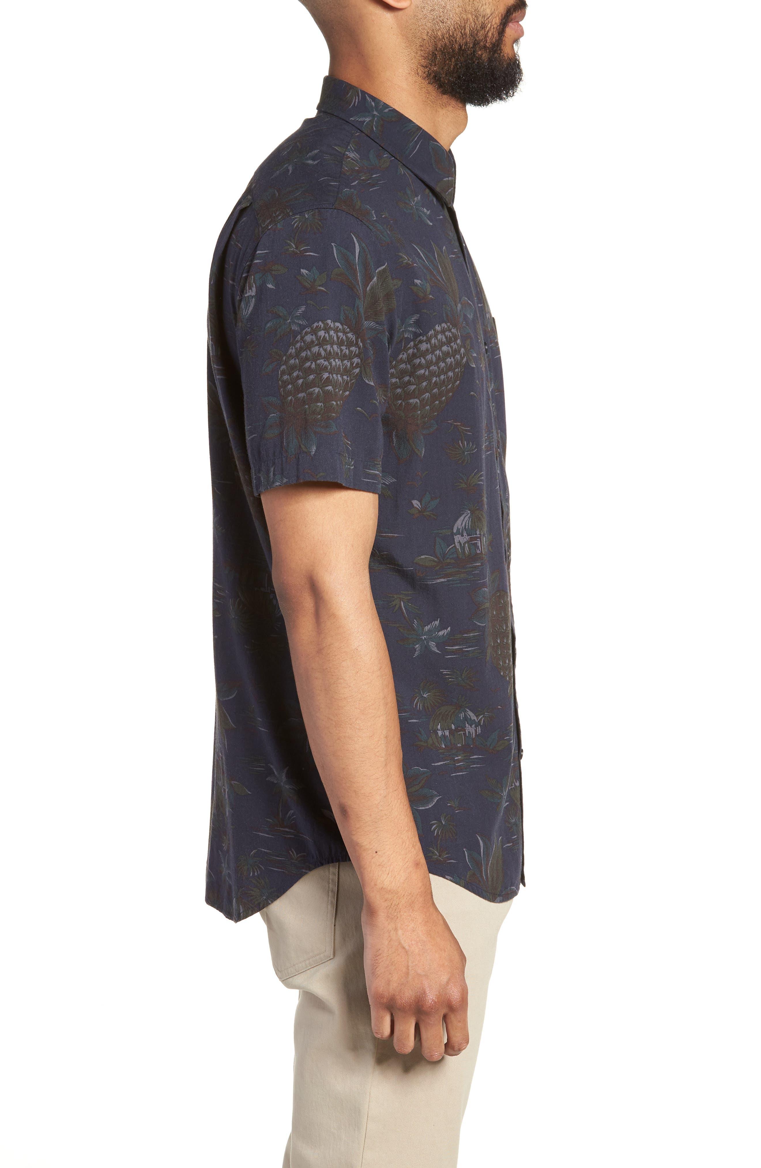 Classic Fit Tropical Short Sleeve Sport Shirt,                             Alternate thumbnail 3, color,                             463