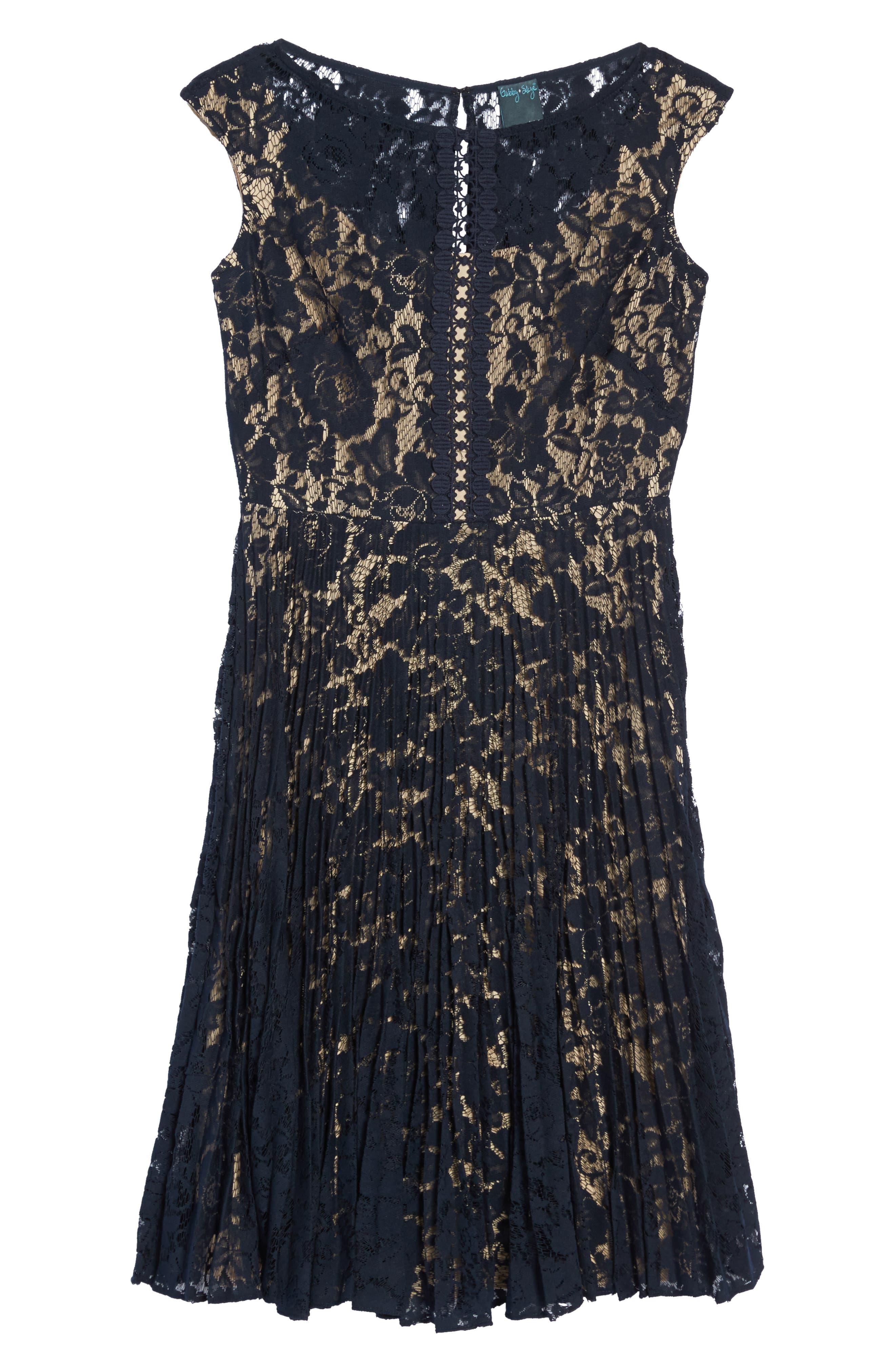 Lace Fit & Flare Dress,                             Alternate thumbnail 11, color,