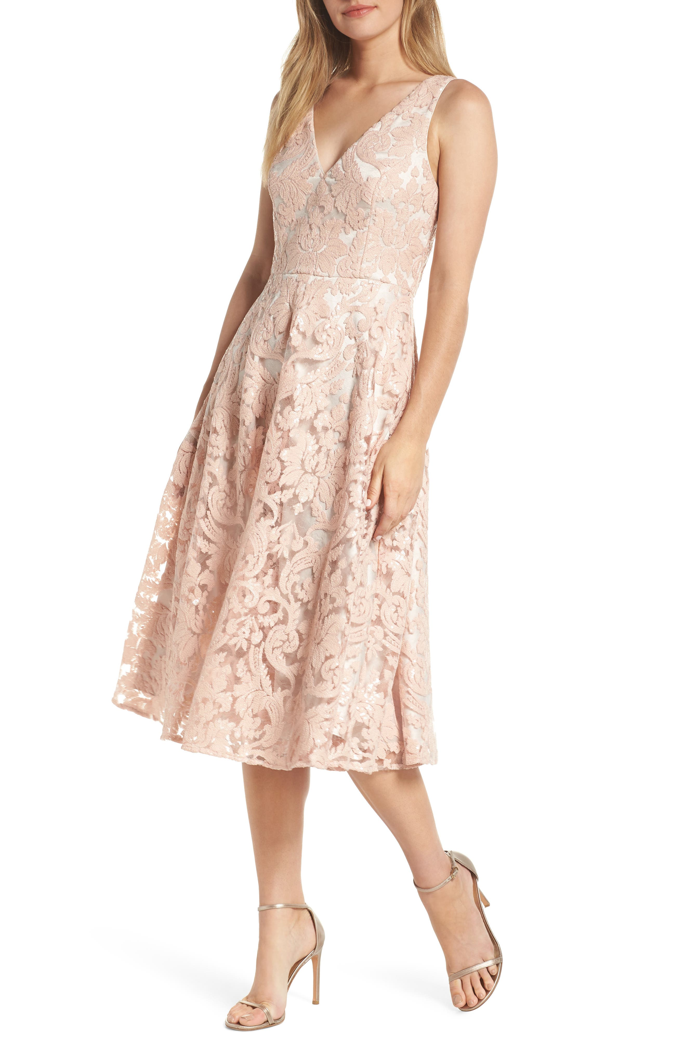 Eliza J Lace Fit & Flare Dress, Pink