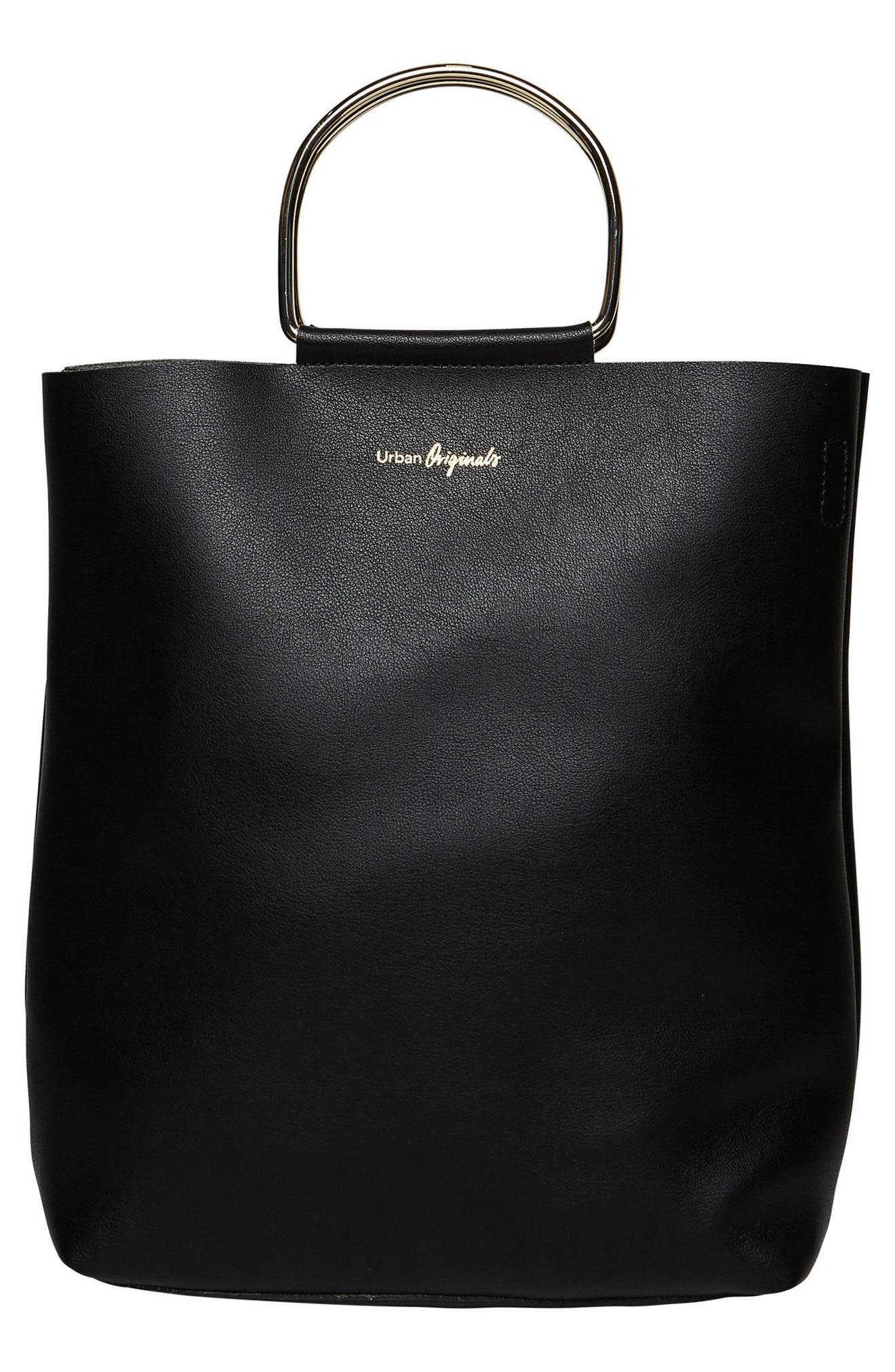 Style Hunter Vegan Leather Ring Handle Tote,                         Main,                         color, 001