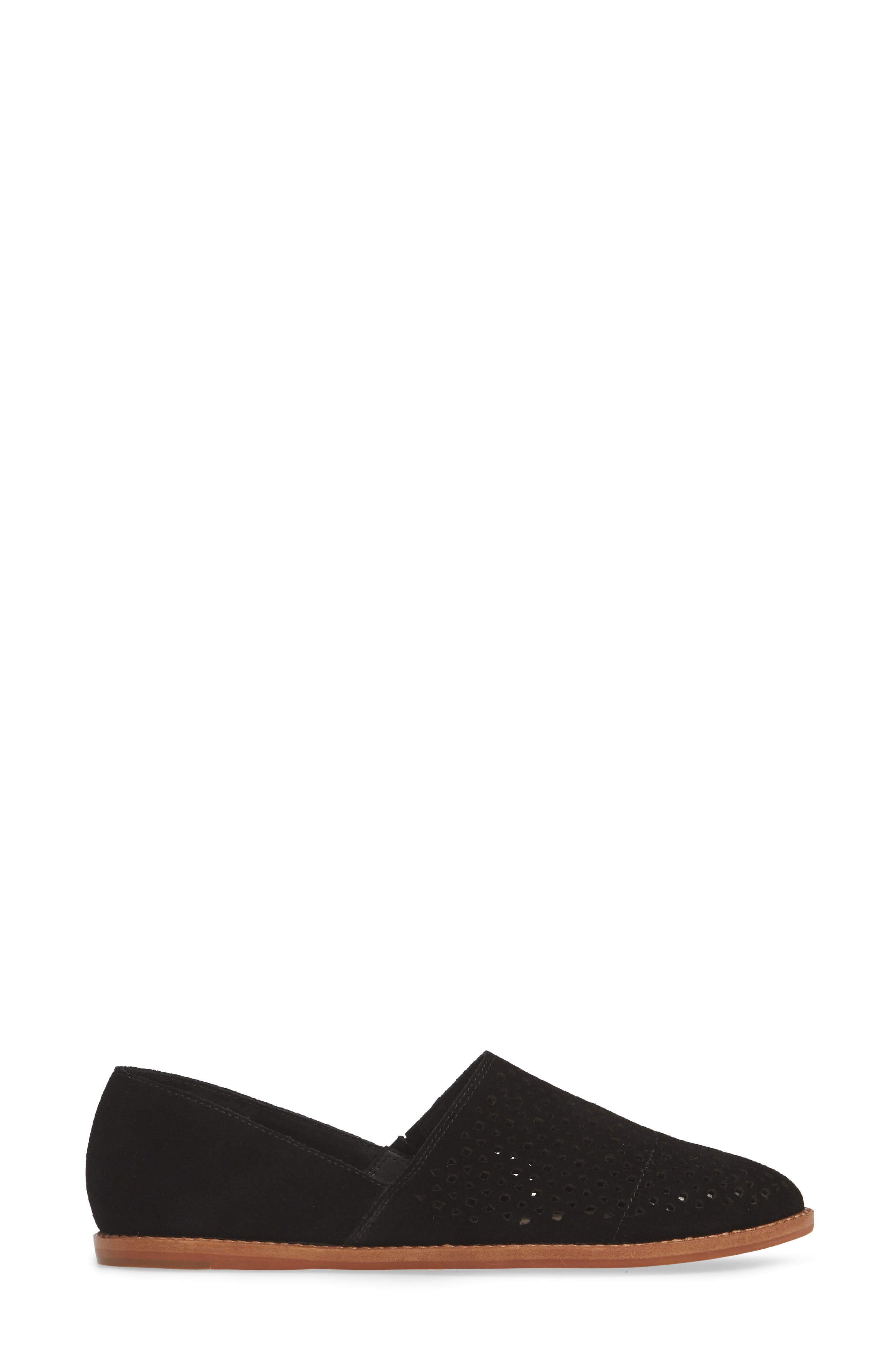 CASLON<SUP>®</SUP>,                             Adrian Perforated Flat,                             Alternate thumbnail 3, color,                             BLACK SUEDE