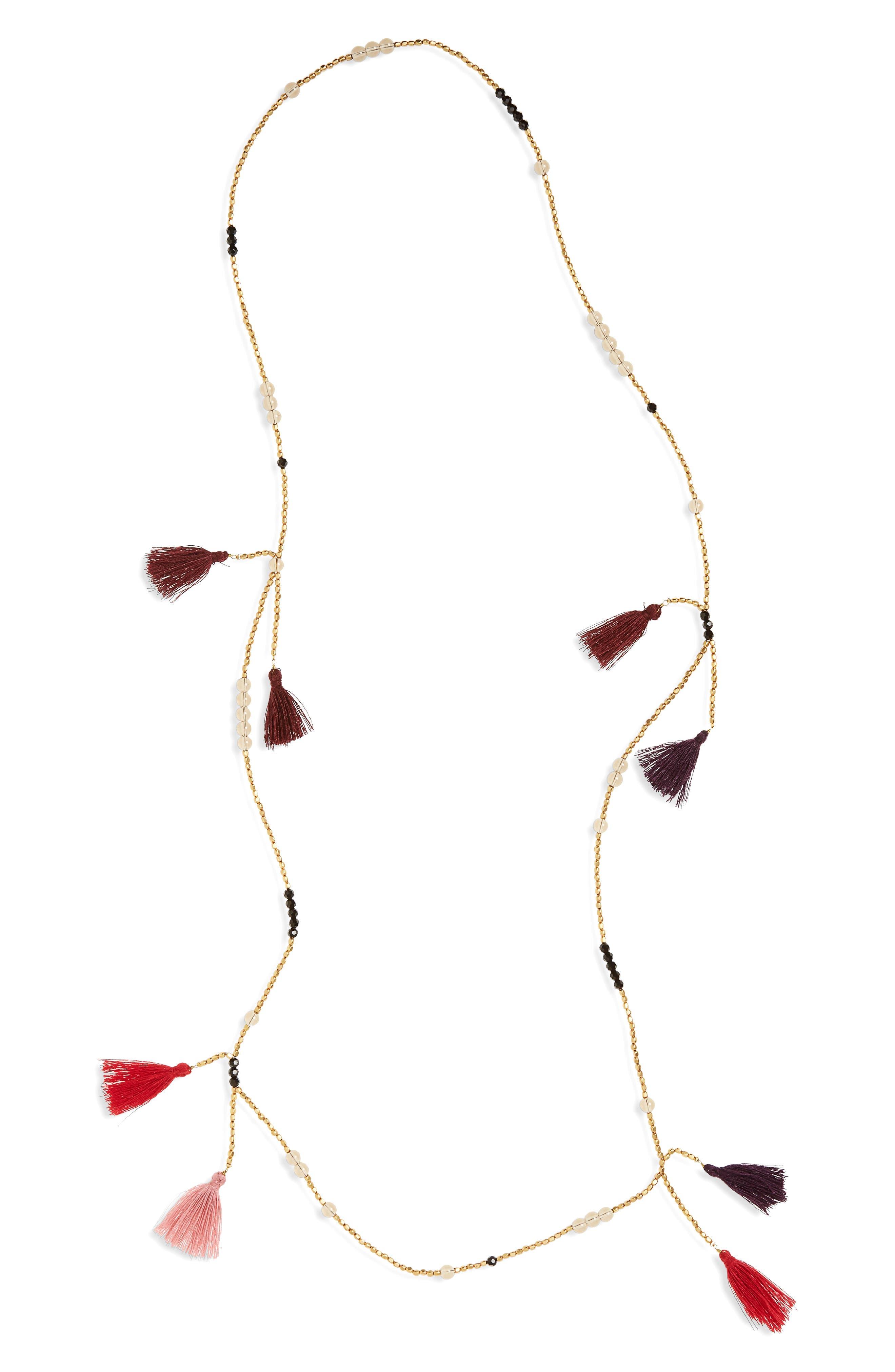 Tassel Bead Necklace,                         Main,                         color, 710