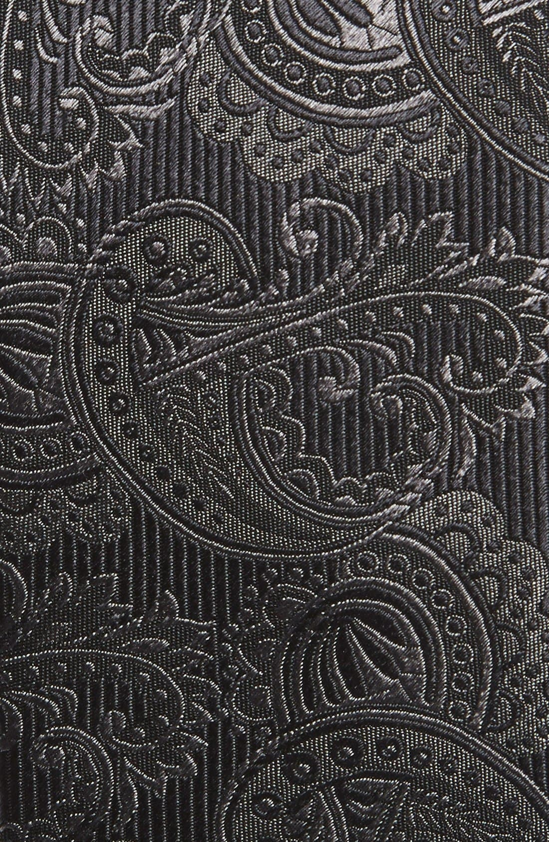 Textured Paisley Silk Tie,                             Alternate thumbnail 2, color,                             CHARCOAL
