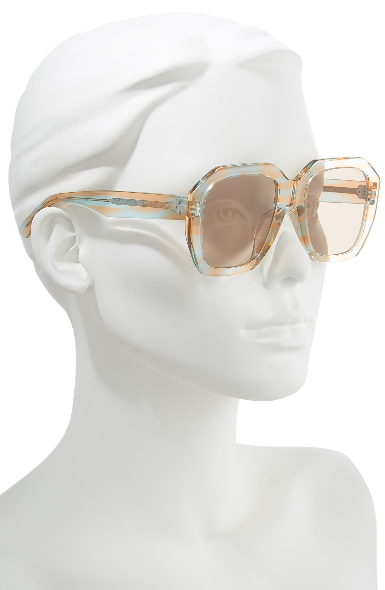 CELINE 53Mm Square Sunglasses - Striped Peach/ Azure Havana