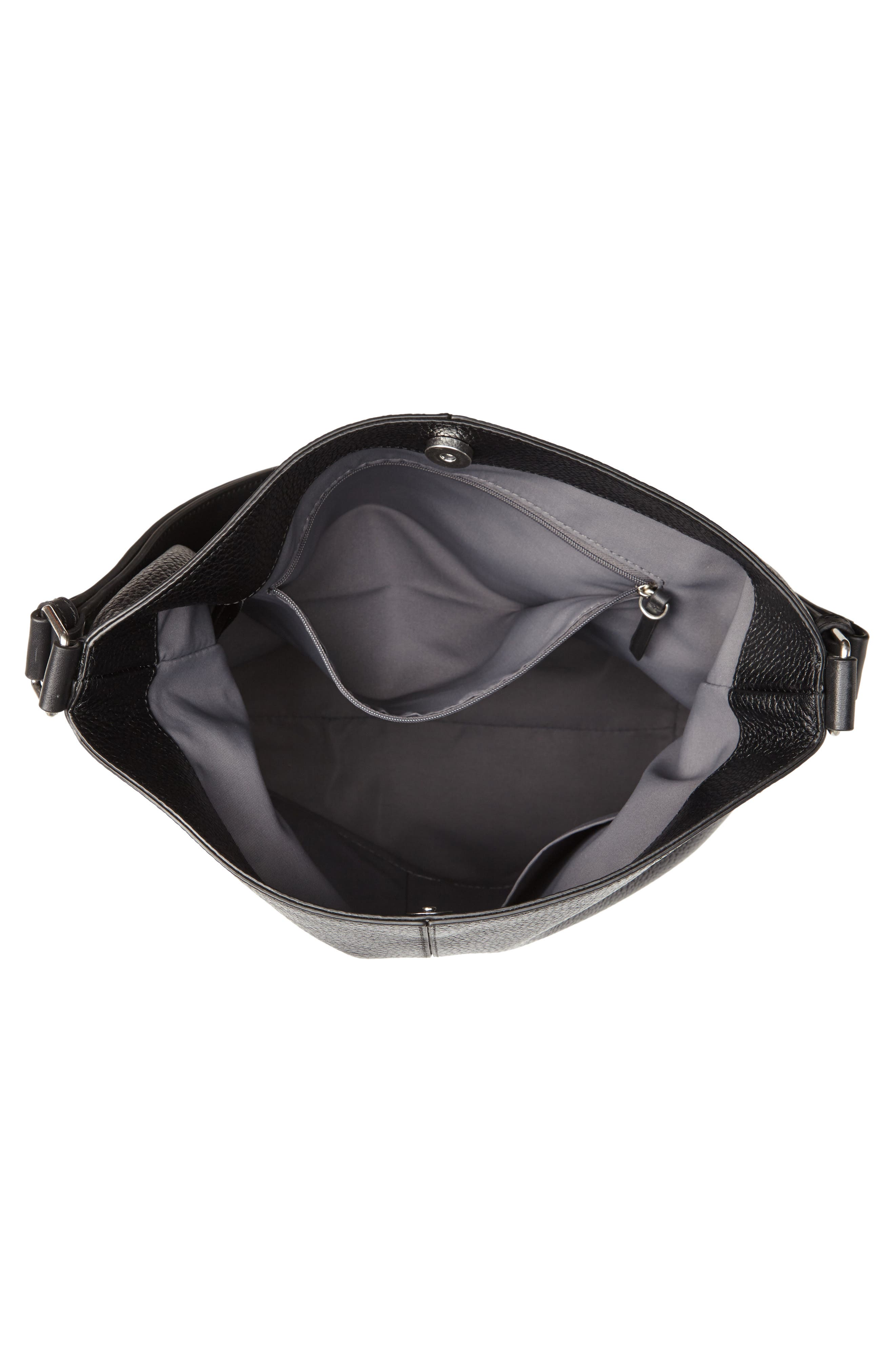 Sydney Leather Convertible Hobo,                             Alternate thumbnail 4, color,                             001