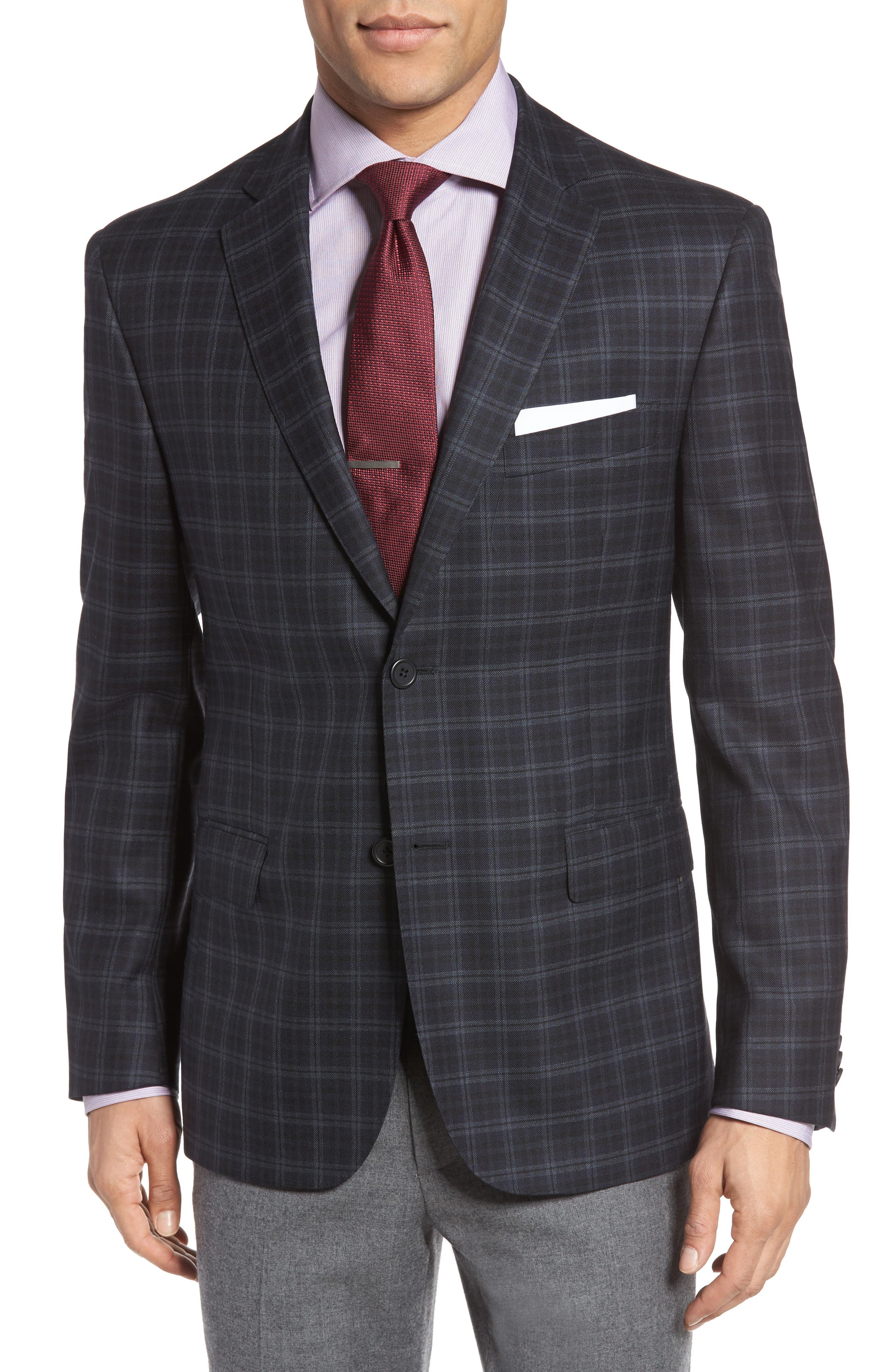 Classic Fit Plaid Wool Sport Coat,                         Main,                         color, 422