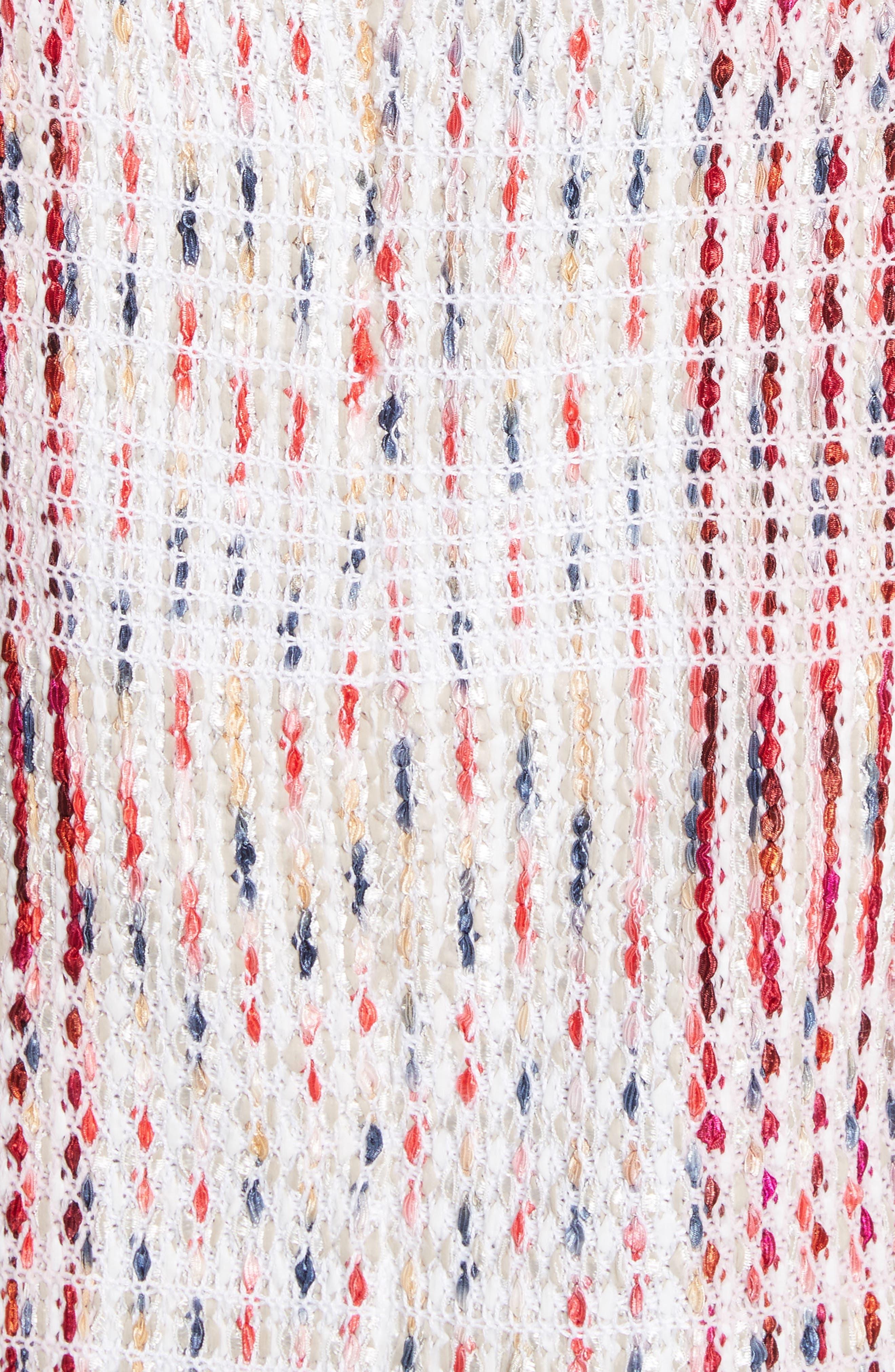 Ribbon Macro Plaid Knit Dress,                             Alternate thumbnail 5, color,                             660