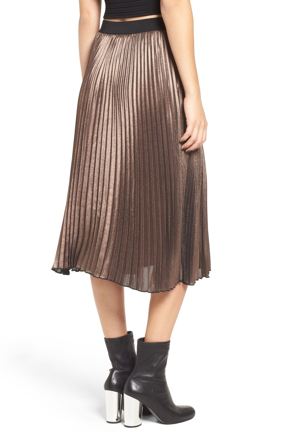 Metallic Pleated Midi Skirt,                             Alternate thumbnail 2, color,                             220