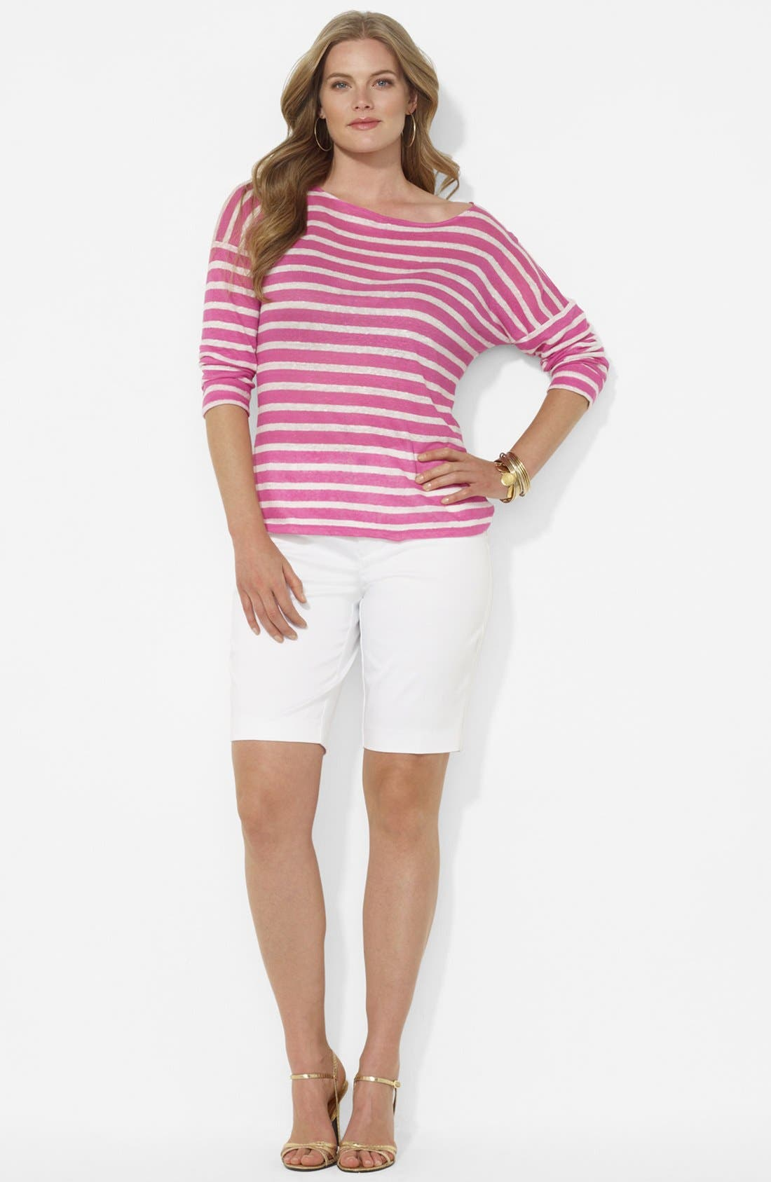 Stripe Drop Shoulder Top,                             Alternate thumbnail 4, color,