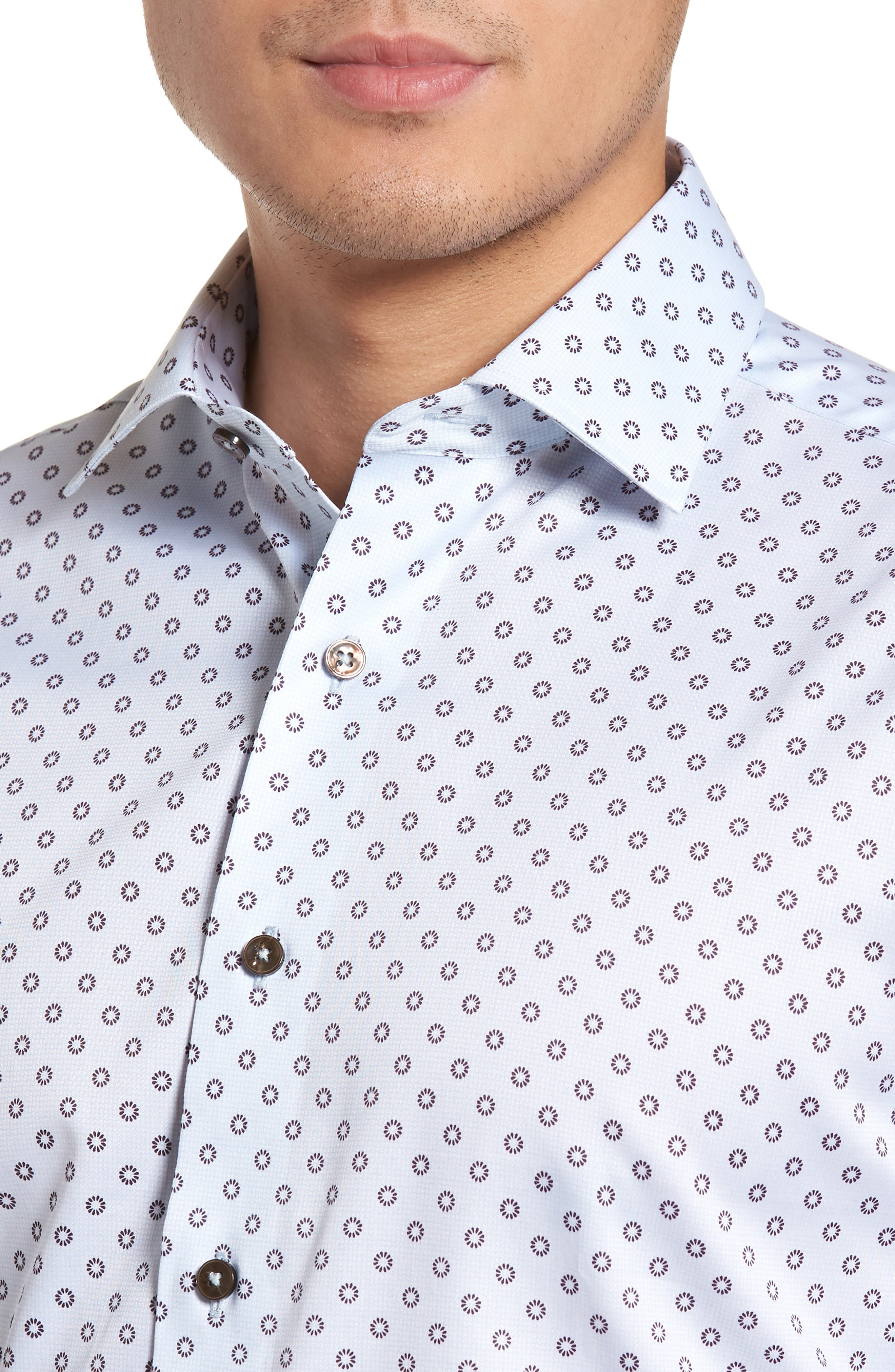 Trim Fit Floral Print Dress Shirt,                             Alternate thumbnail 2, color,                             LIGHT BLUE