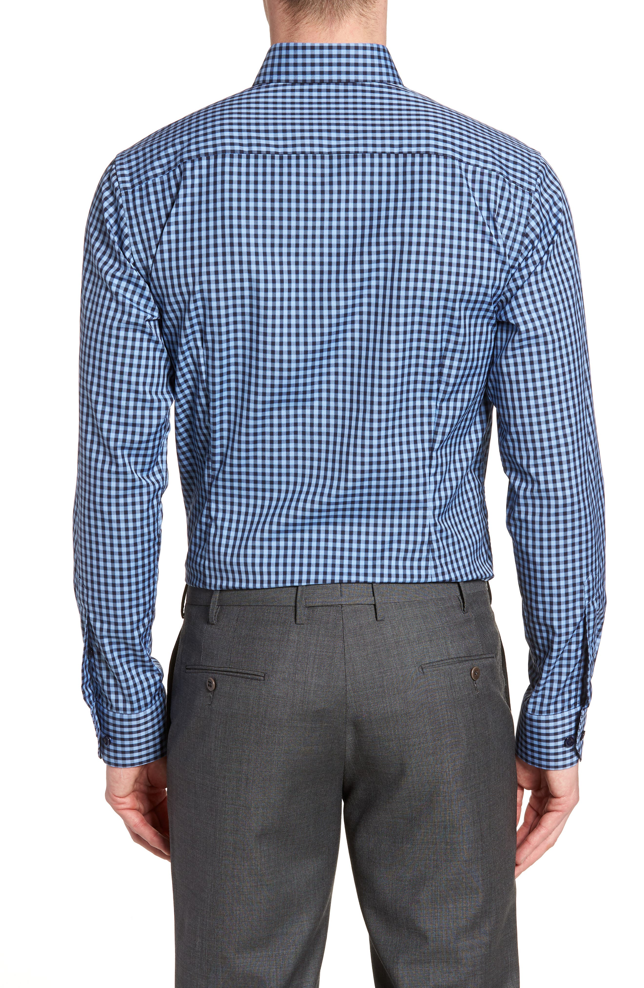 Contemporary Fit Check Dress Shirt,                             Alternate thumbnail 3, color,                             NAVY