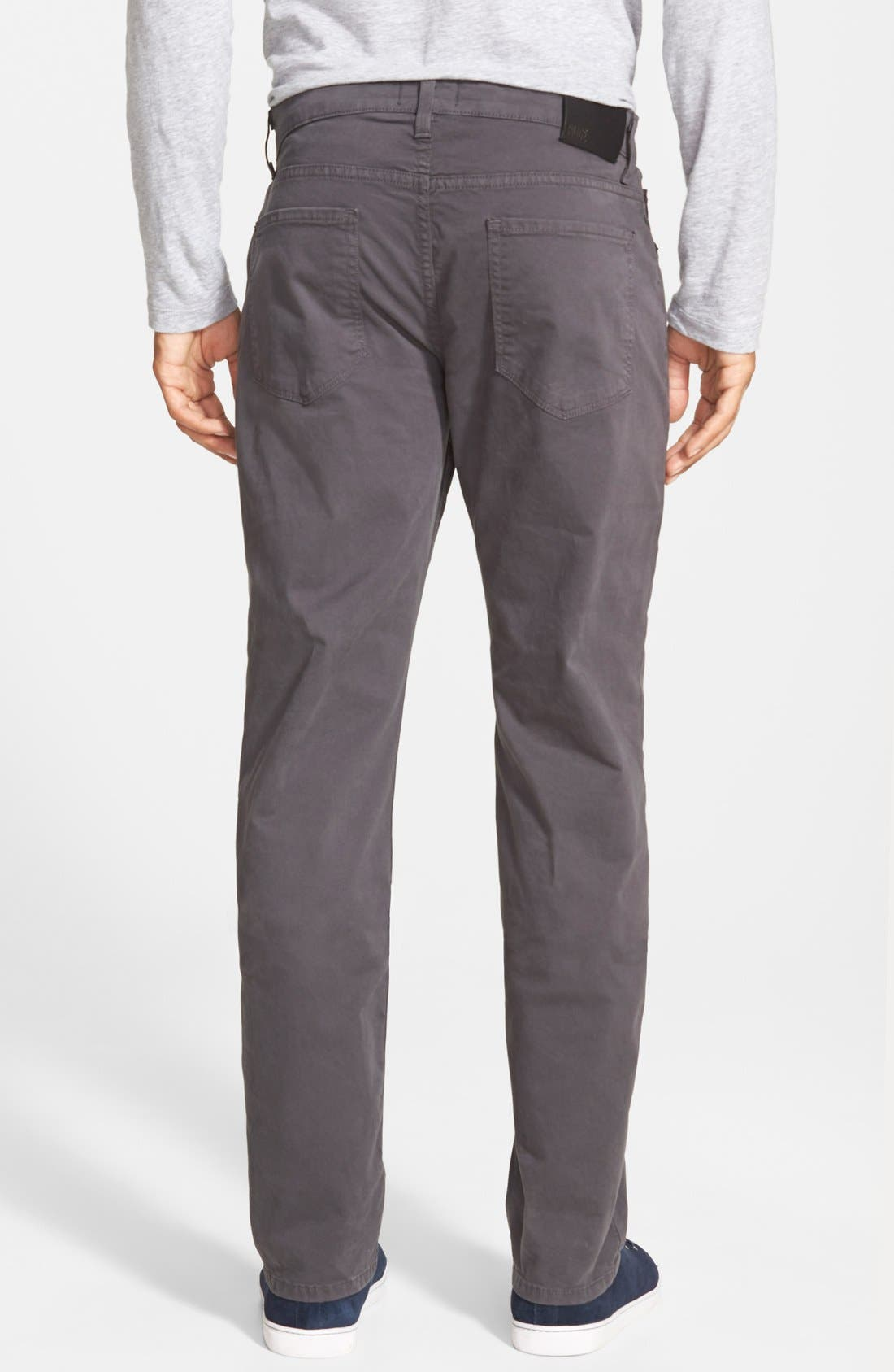 Normandie Slim Straight Leg Twill Pants,                             Alternate thumbnail 3, color,                             SOOT DARK GREY