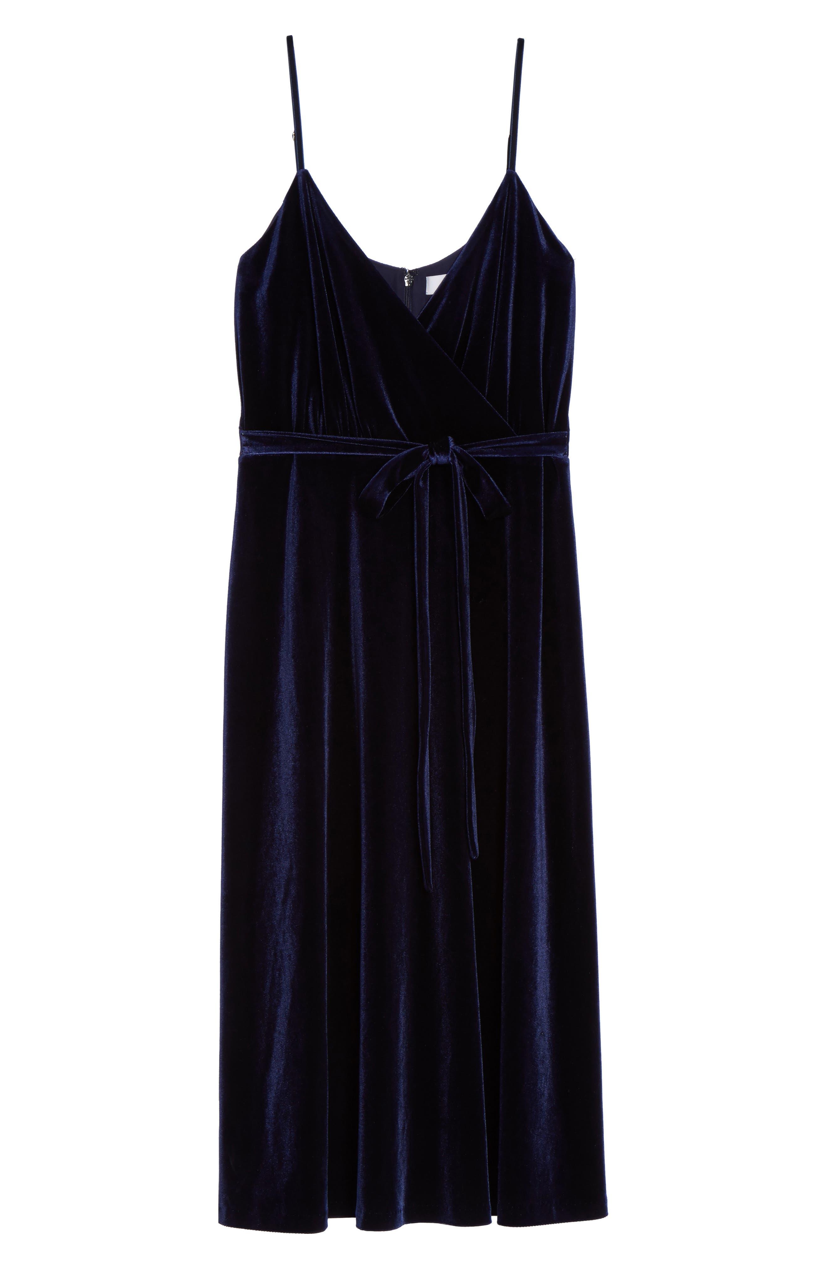 Sleeveless Velvet Faux Wrap Midi Dress,                             Alternate thumbnail 7, color,                             410