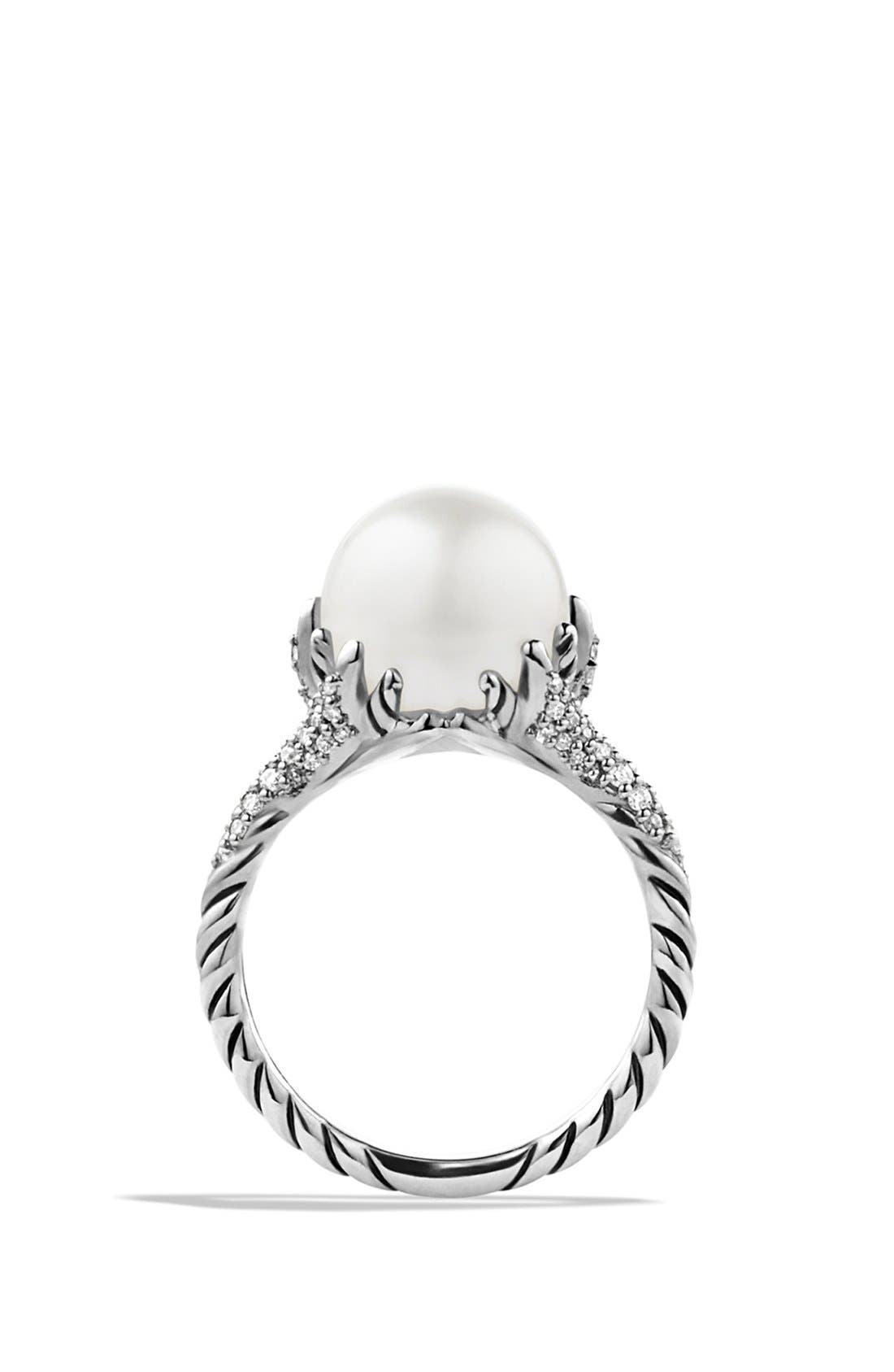 'Starburst' Pearl Ring with Diamonds,                             Alternate thumbnail 3, color,                             PEARL