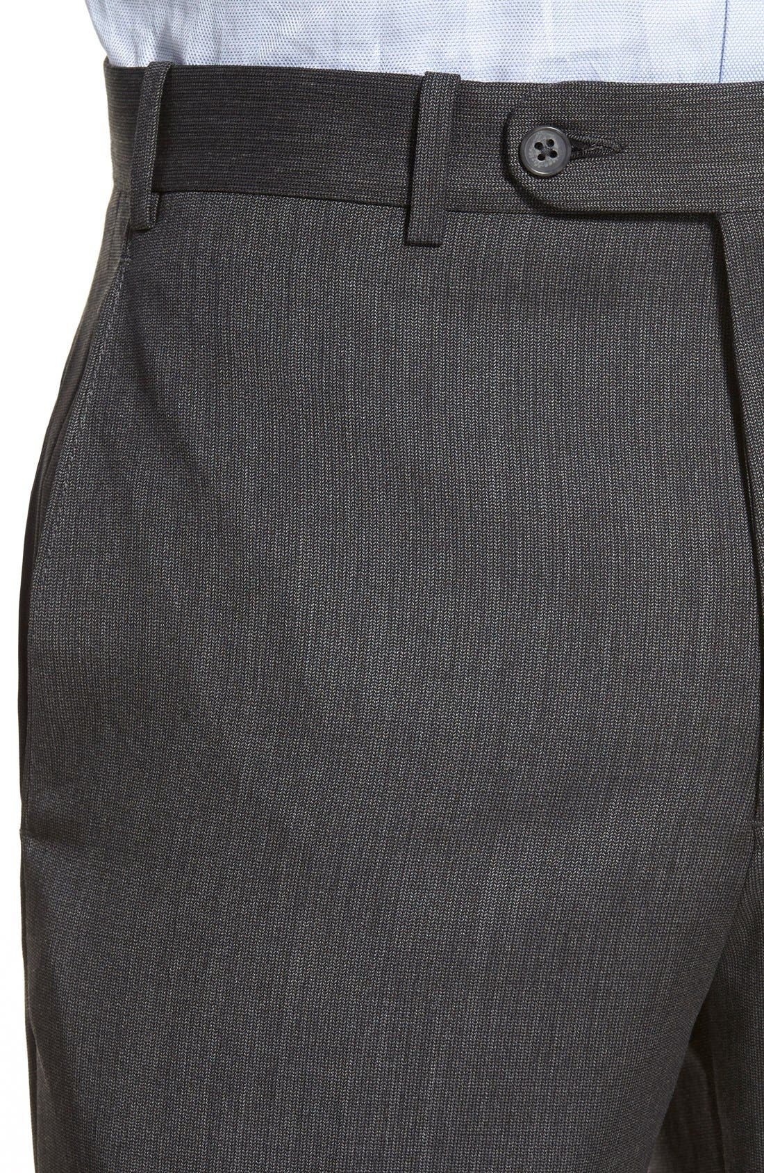 Torino Flat Front Solid Wool Trousers,                             Alternate thumbnail 3, color,                             020