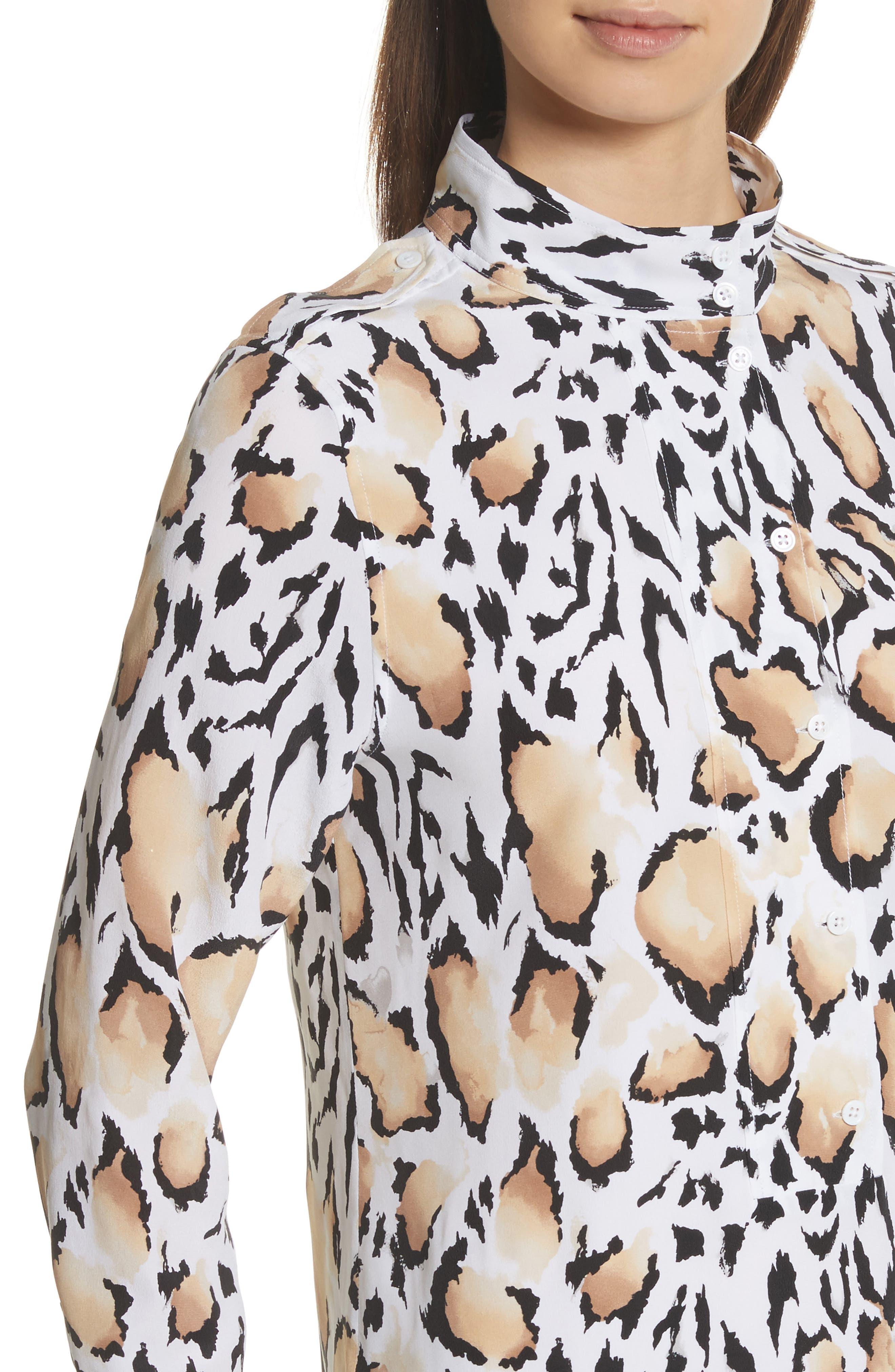 Freda Animal Print Silk Shirtdress,                             Alternate thumbnail 4, color,