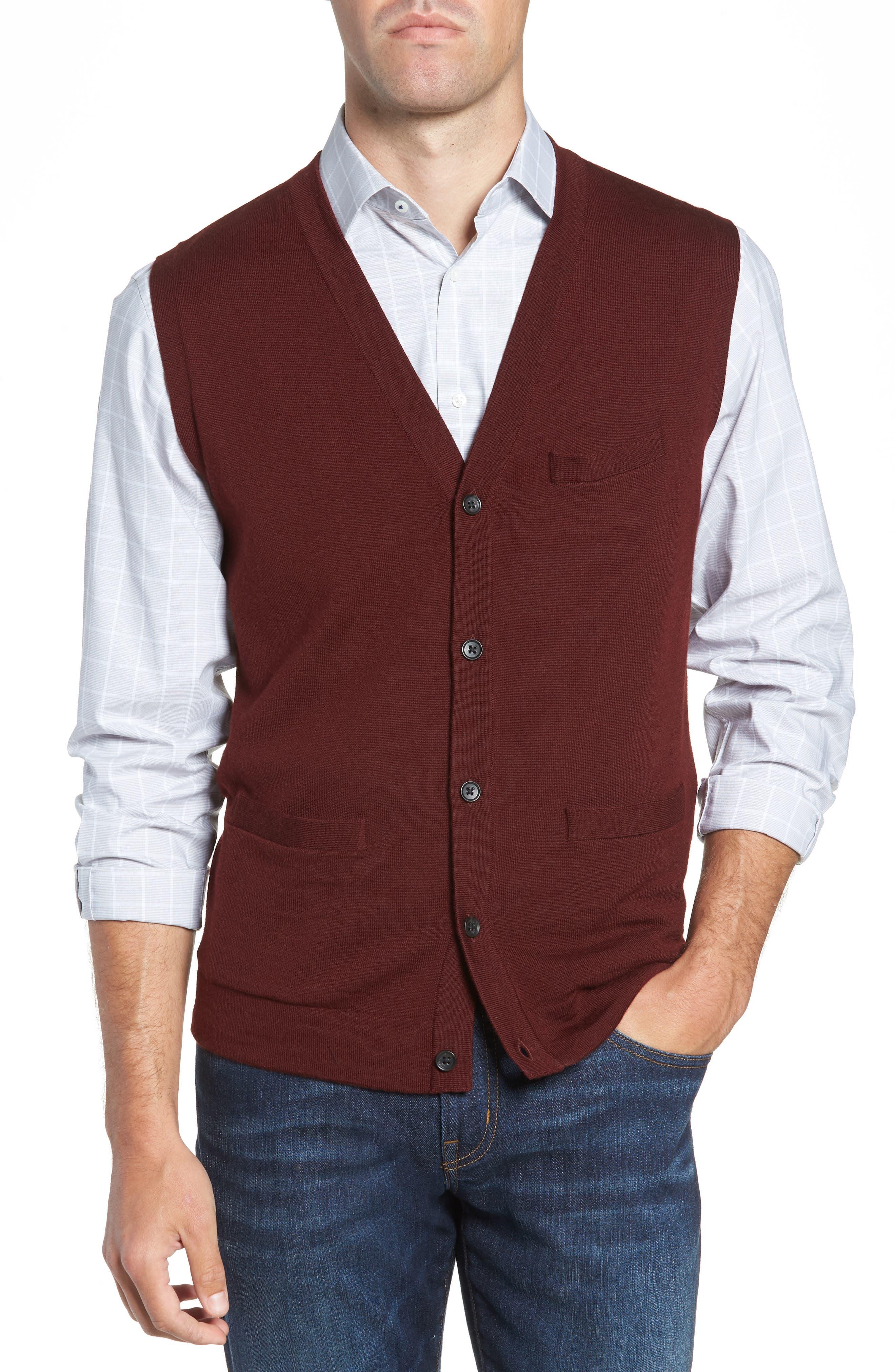 Nordstrom Shop Merino Button Front Sweater Vest, Burgundy