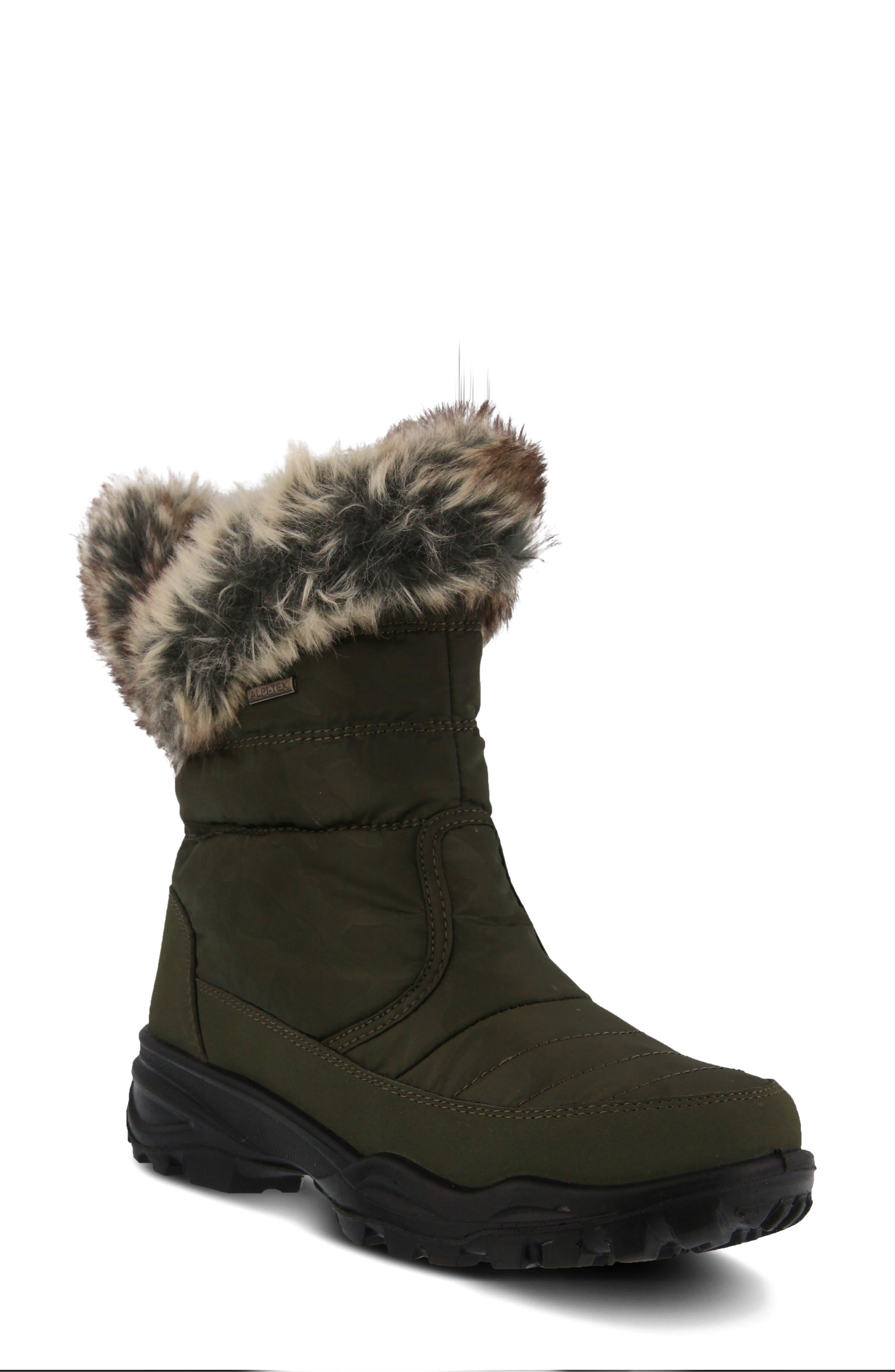 Spring Step Korine Waterproof Faux Fur Bootie, Green