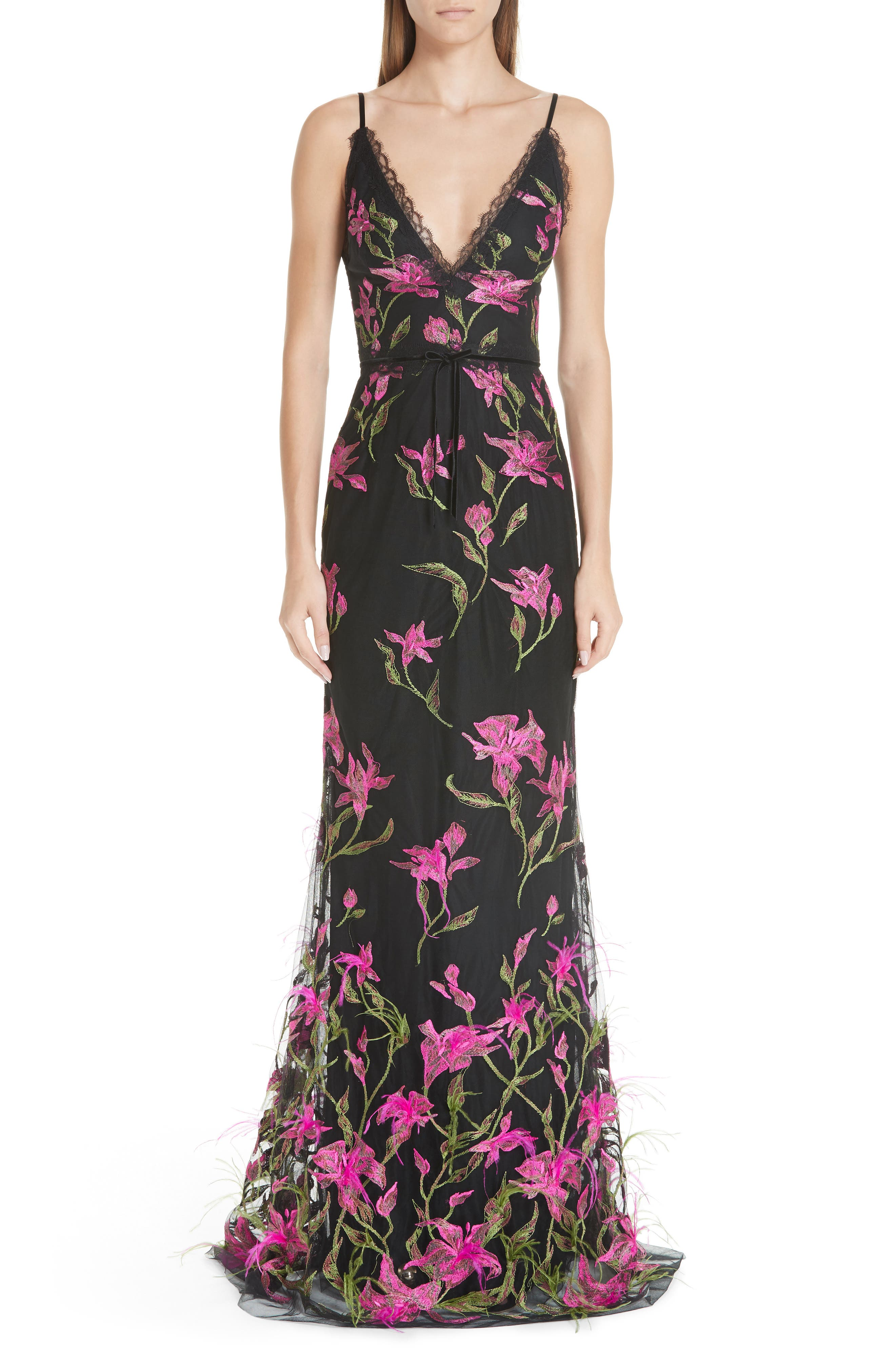 Marchesa Notte Embroidered Lace & Feather Trim Gown, Black
