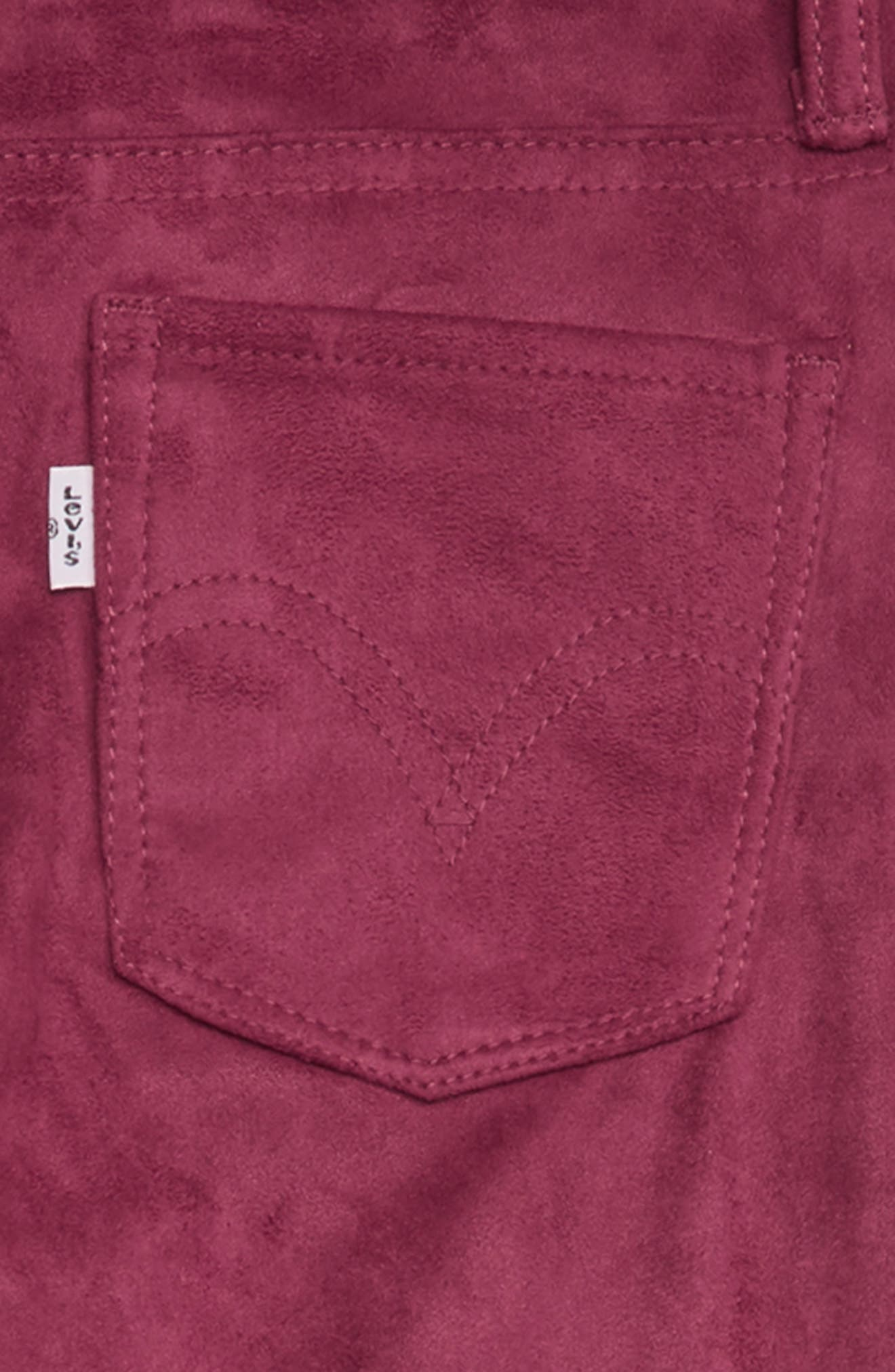710<sup>™</sup> Super Skinny Faux Suede Jeans,                             Alternate thumbnail 3, color,                             BEET RED