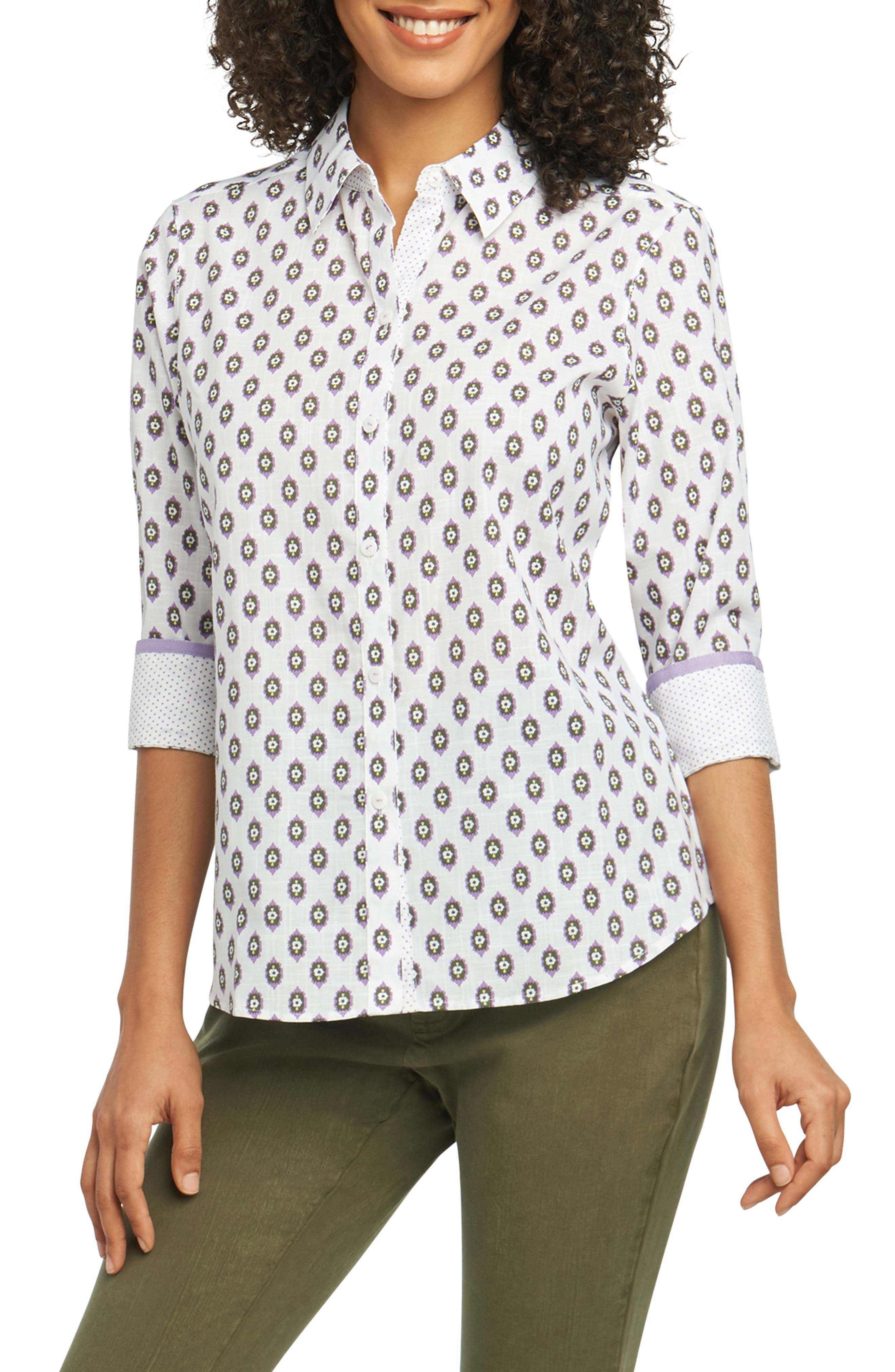 Ava Ikat Dot Wrinkle-Free Shirt,                         Main,                         color, 500