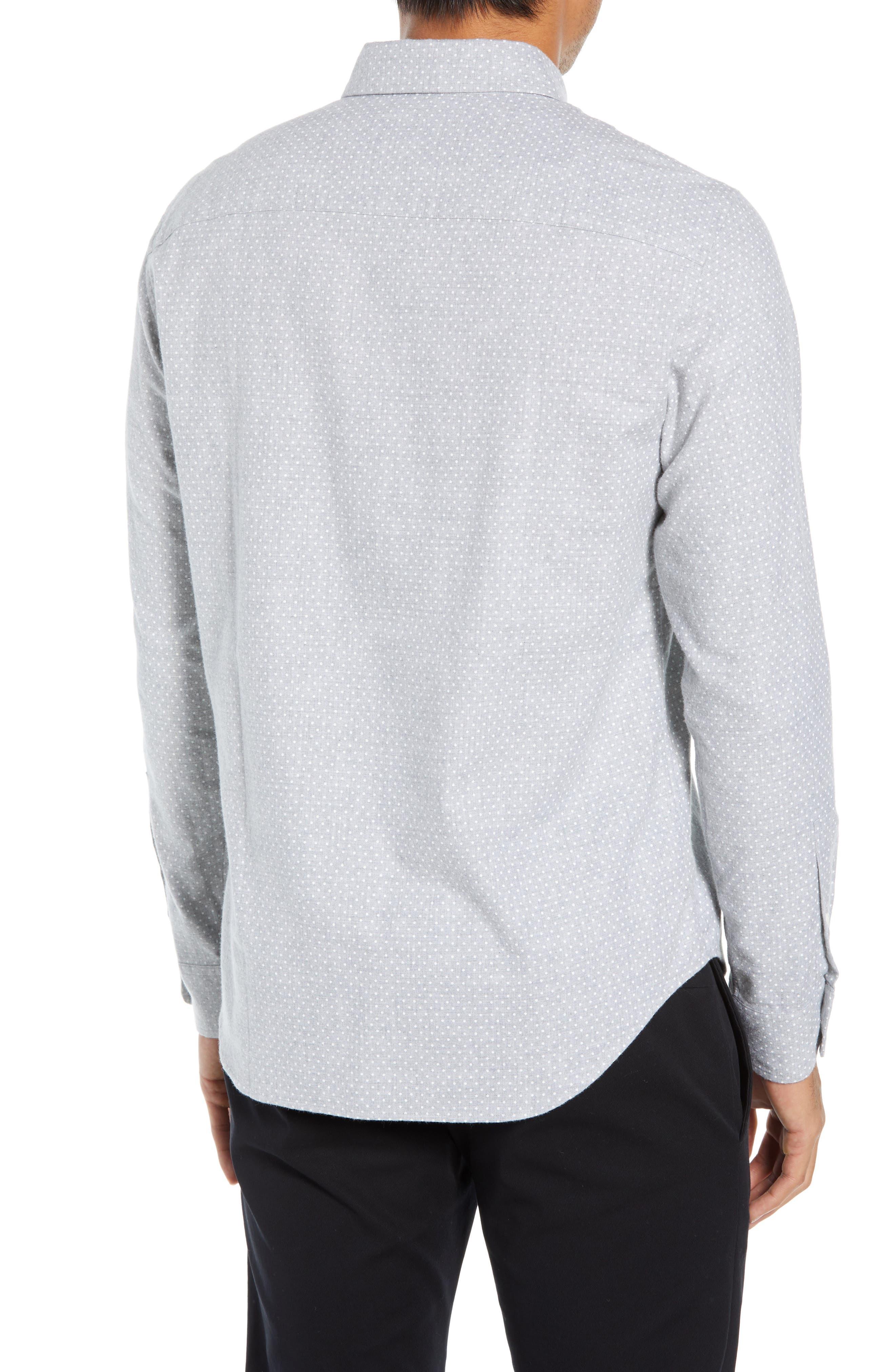 Polka Dot Cotton Flannel Sport Shirt,                             Alternate thumbnail 3, color,                             030