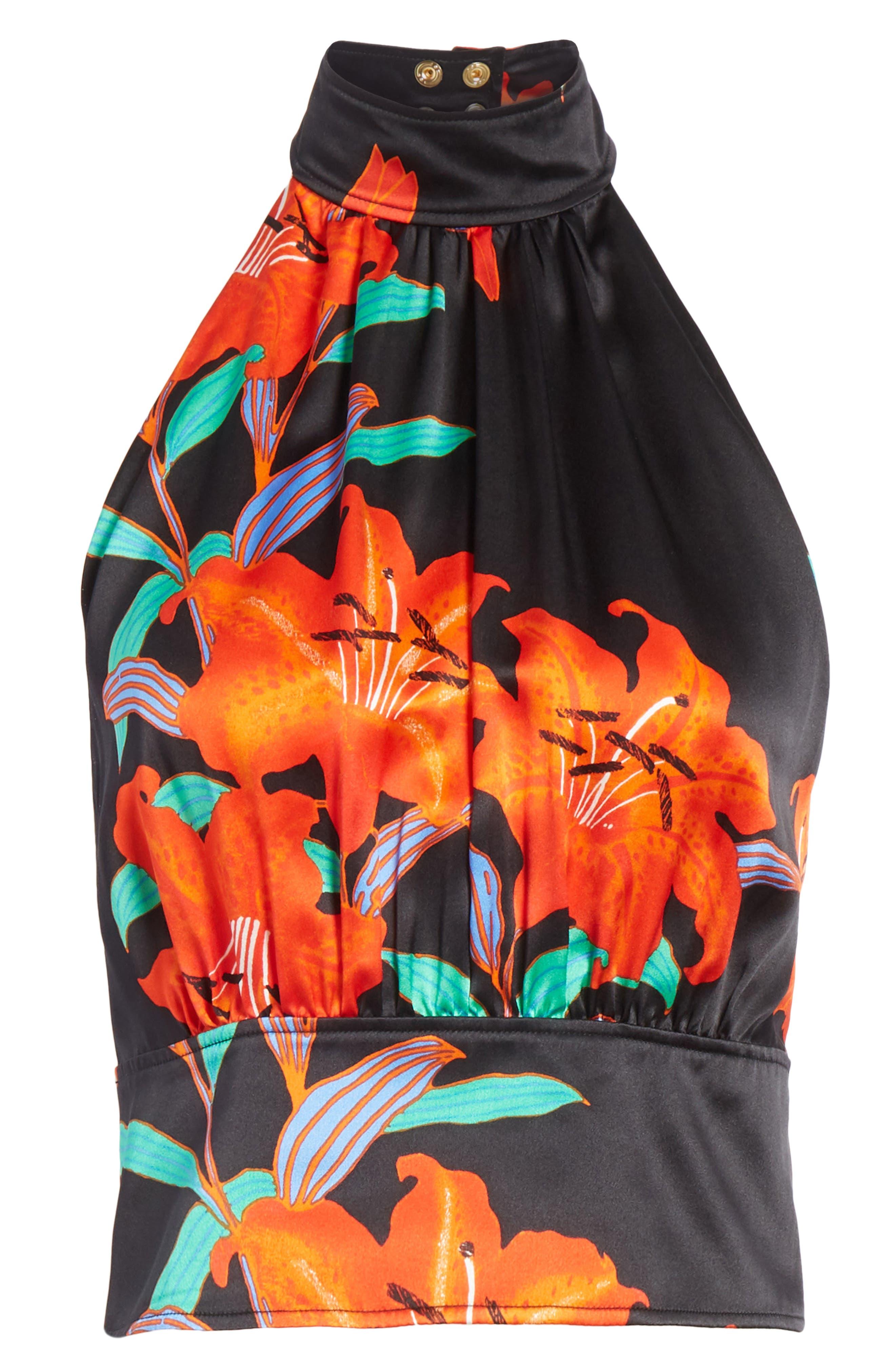 Diane von Furstenberg High Neck Open Back Silk Blouse,                             Alternate thumbnail 6, color,                             001