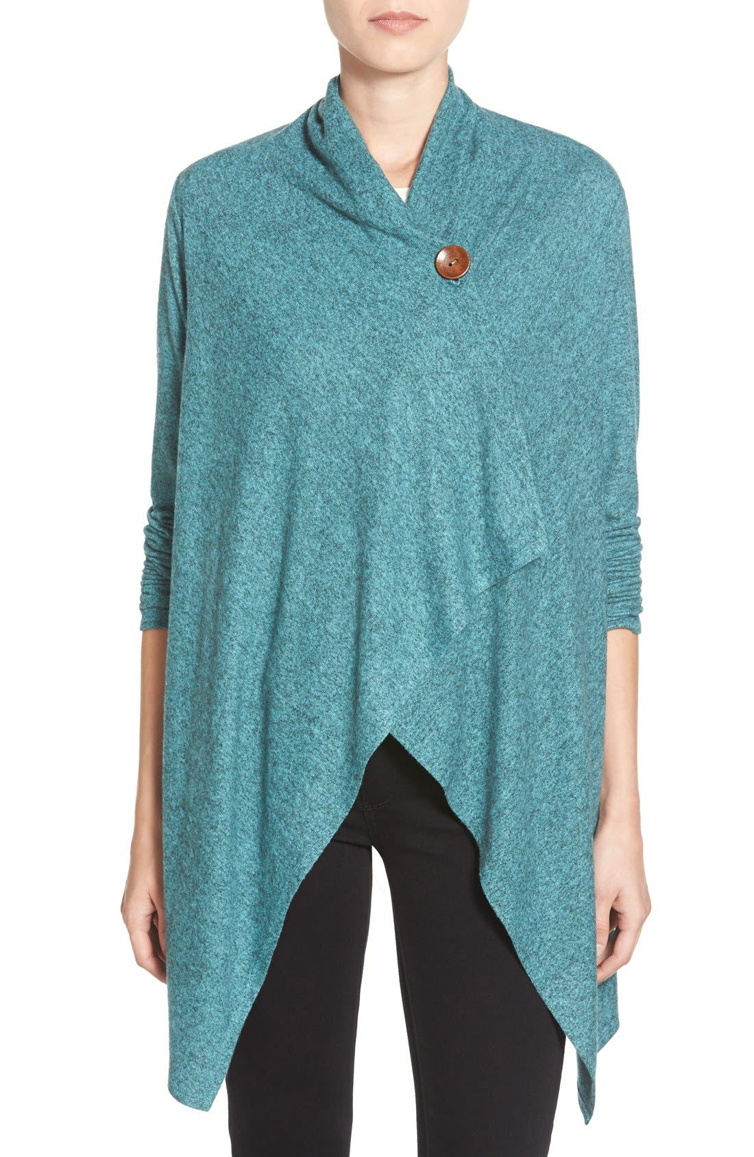 One-Button Fuzzy Wrap Cardigan,                             Main thumbnail 1, color,                             456