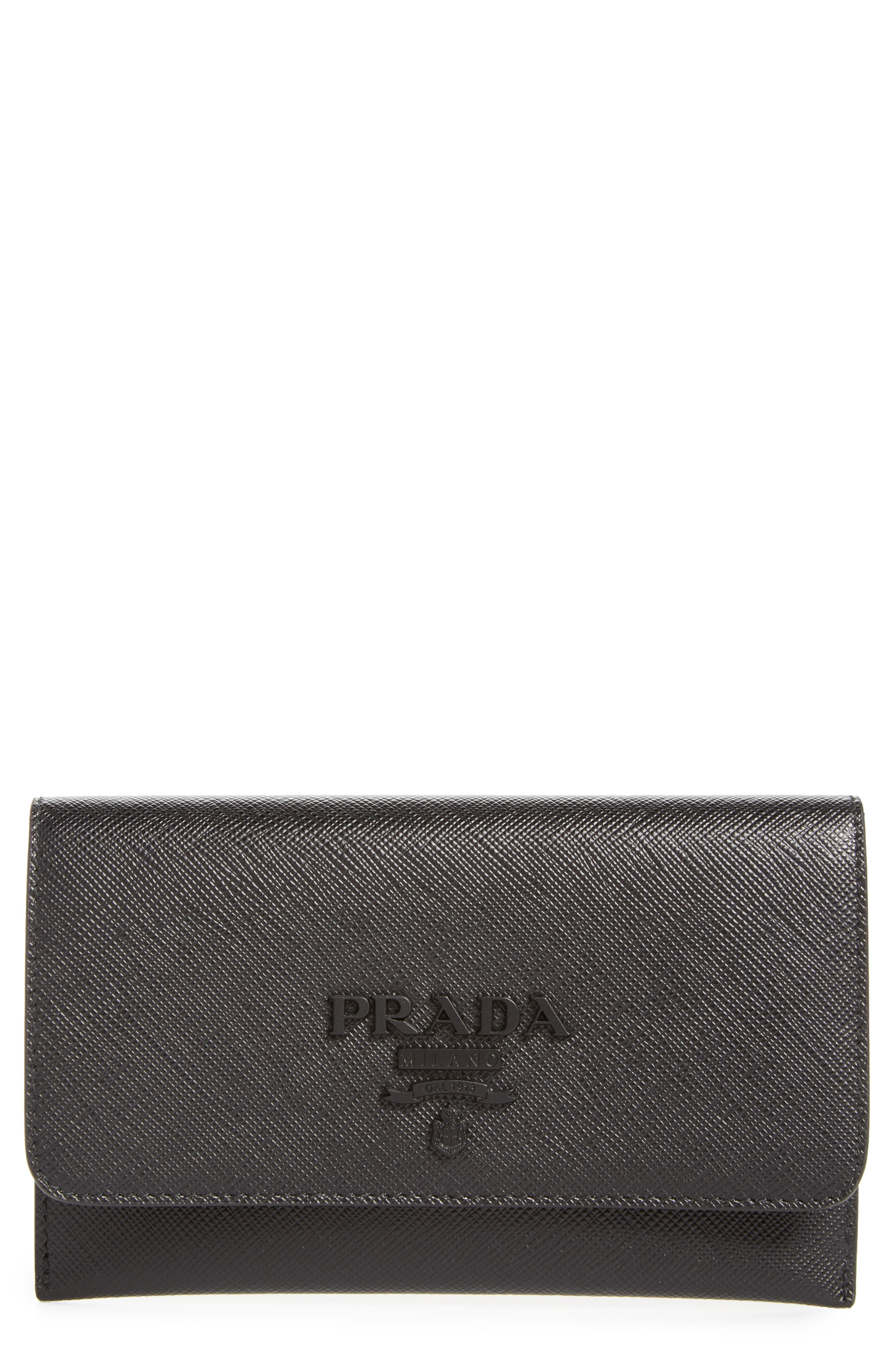 PRADA,                             Saffiano Leather Wallet,                             Main thumbnail 1, color,                             001