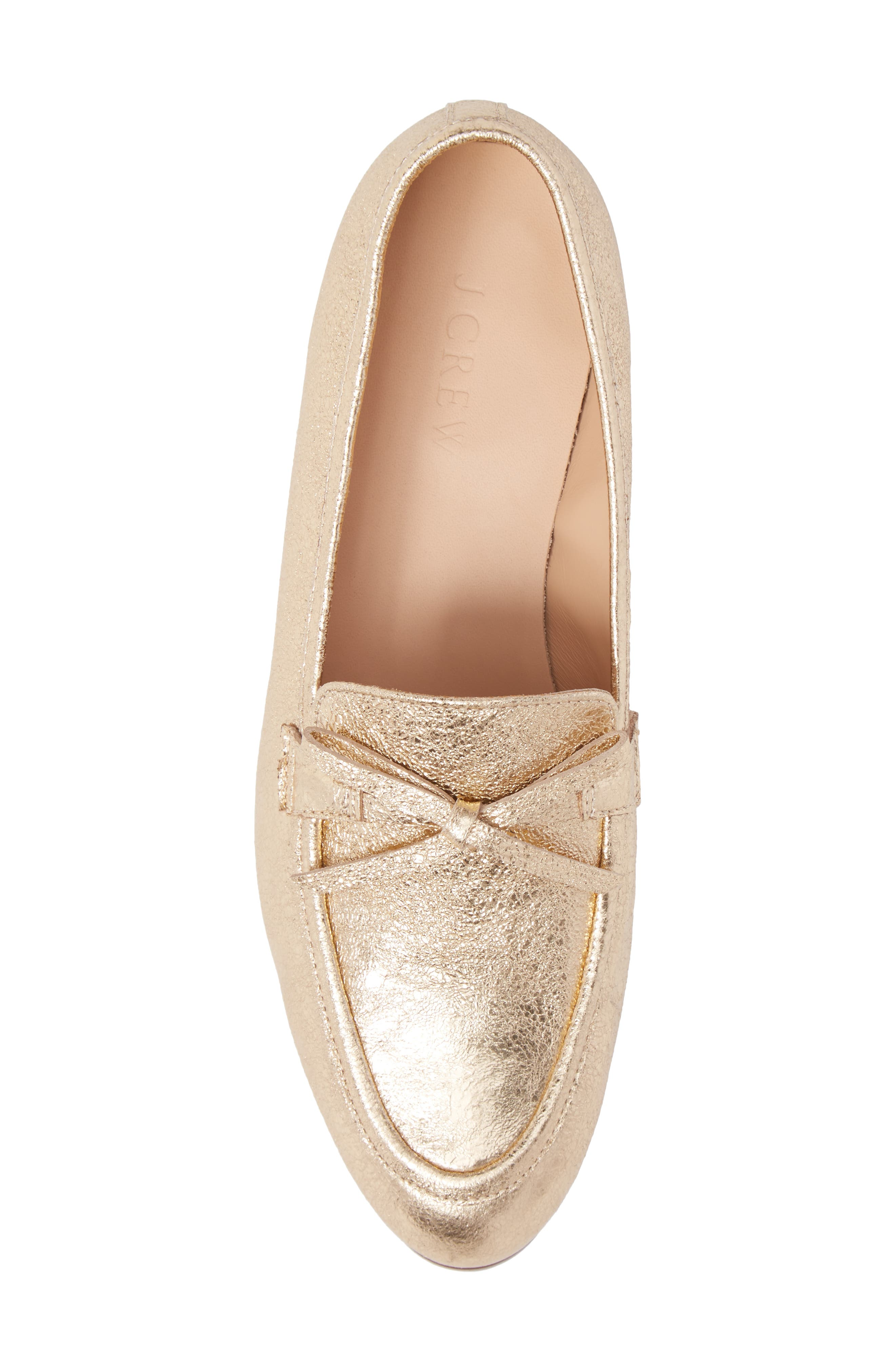 J. Crew Metallic Bow Loafer,                             Alternate thumbnail 5, color,                             710