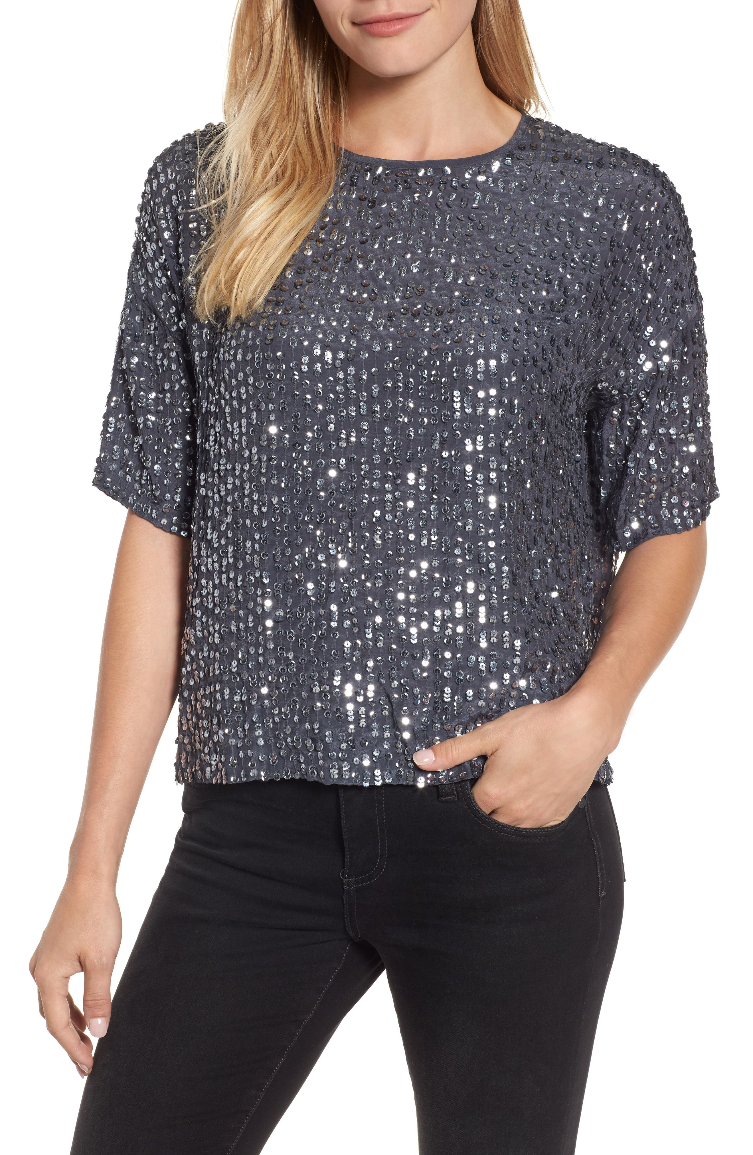 Short Sleeve Sequin Top,                         Main,                         color, 031
