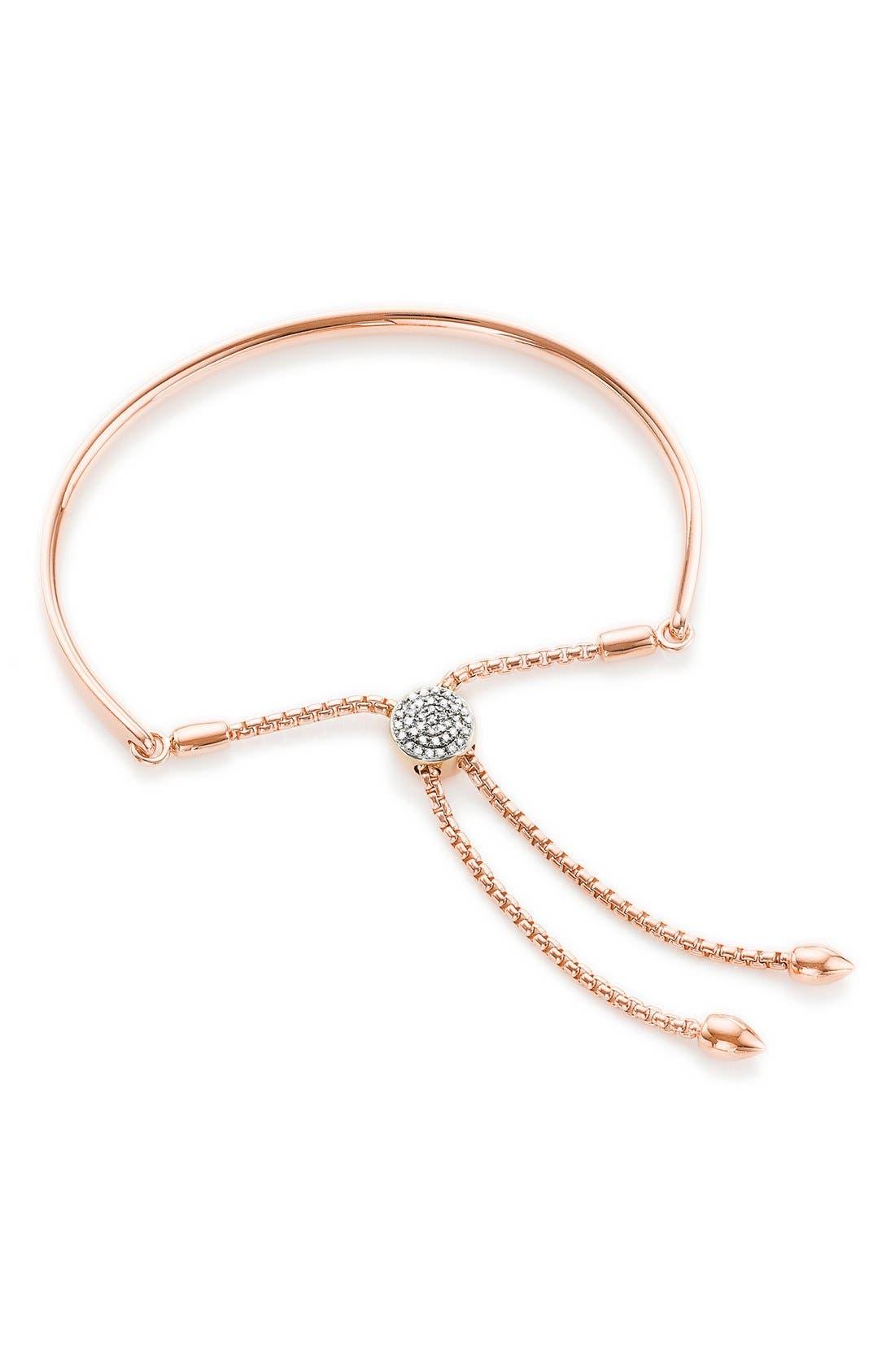'Fiji' Diamond Friendship Bracelet,                             Main thumbnail 1, color,                             ROSE GOLD/ DIAMOND