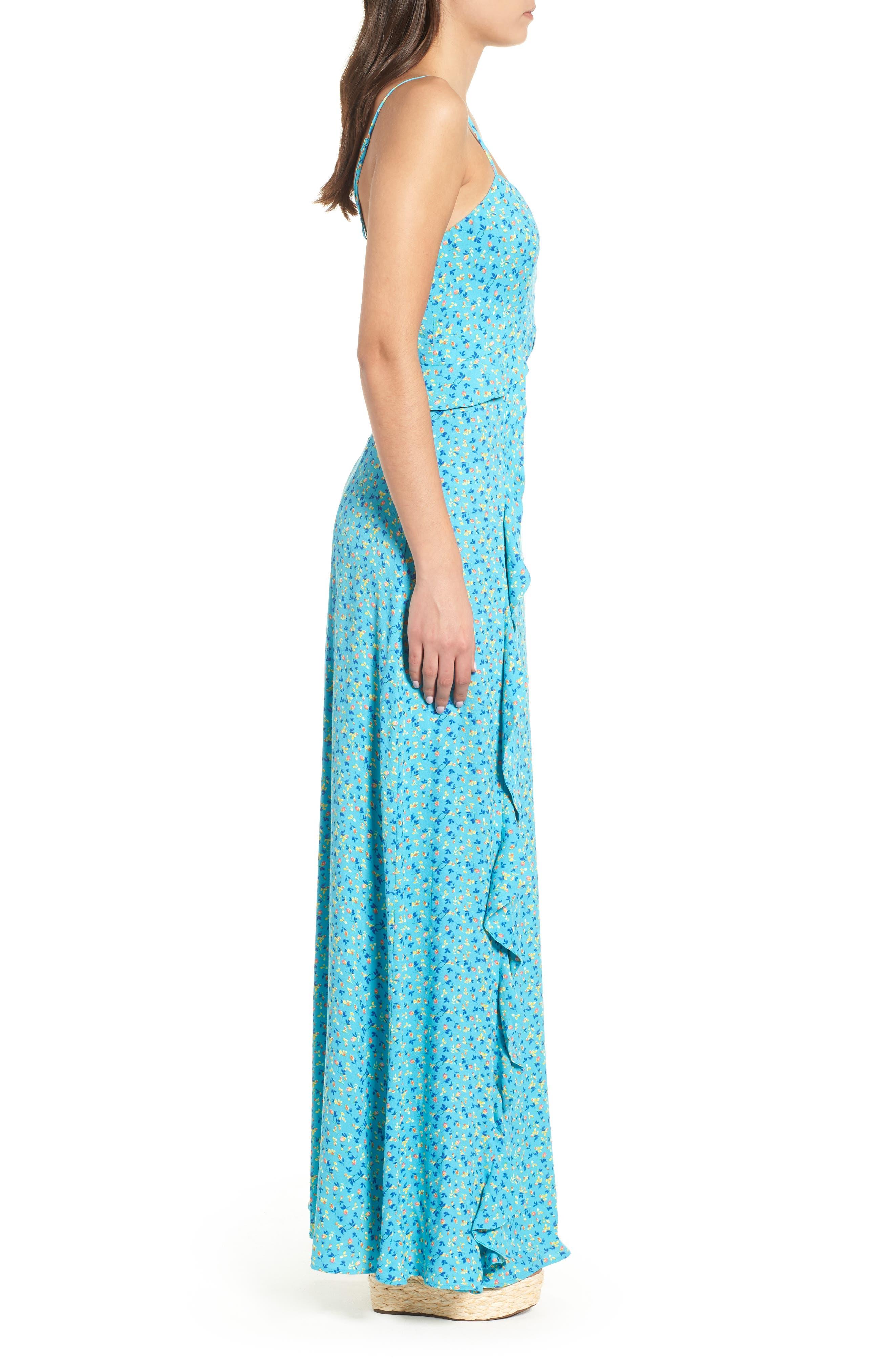 Kiki Ruffle Maxi Dress,                             Alternate thumbnail 3, color,                             400