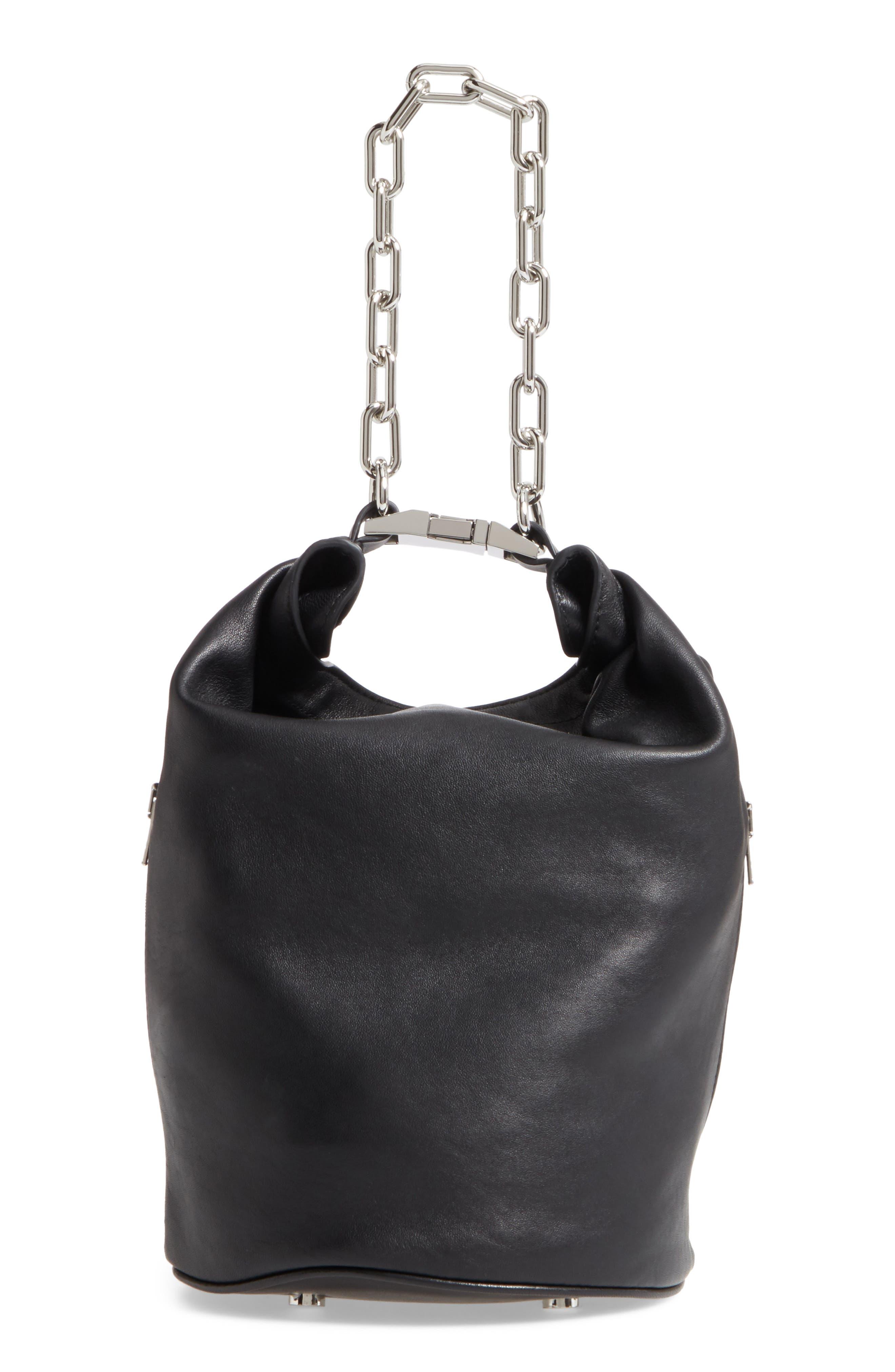 Attica Leather Bucket Bag,                             Alternate thumbnail 4, color,                             001
