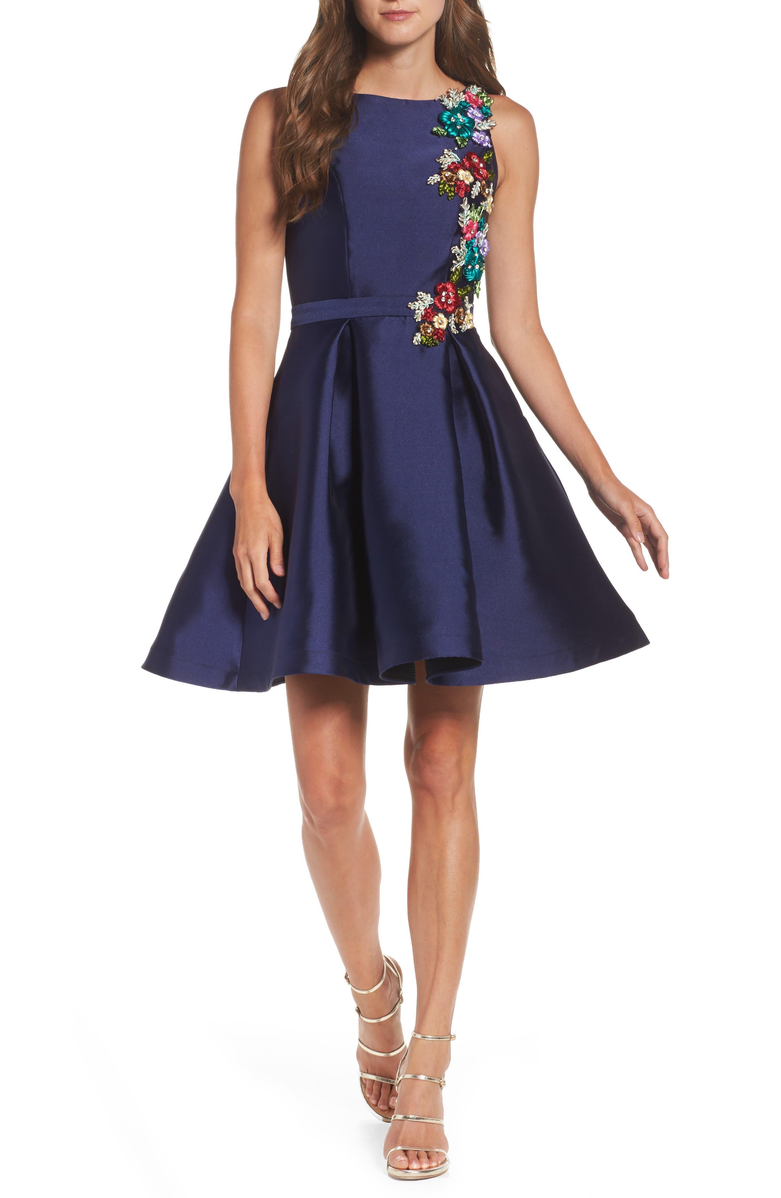 Micado Floral Appliqué Fit & Flare Minidress,                         Main,                         color, MIDNIGHT