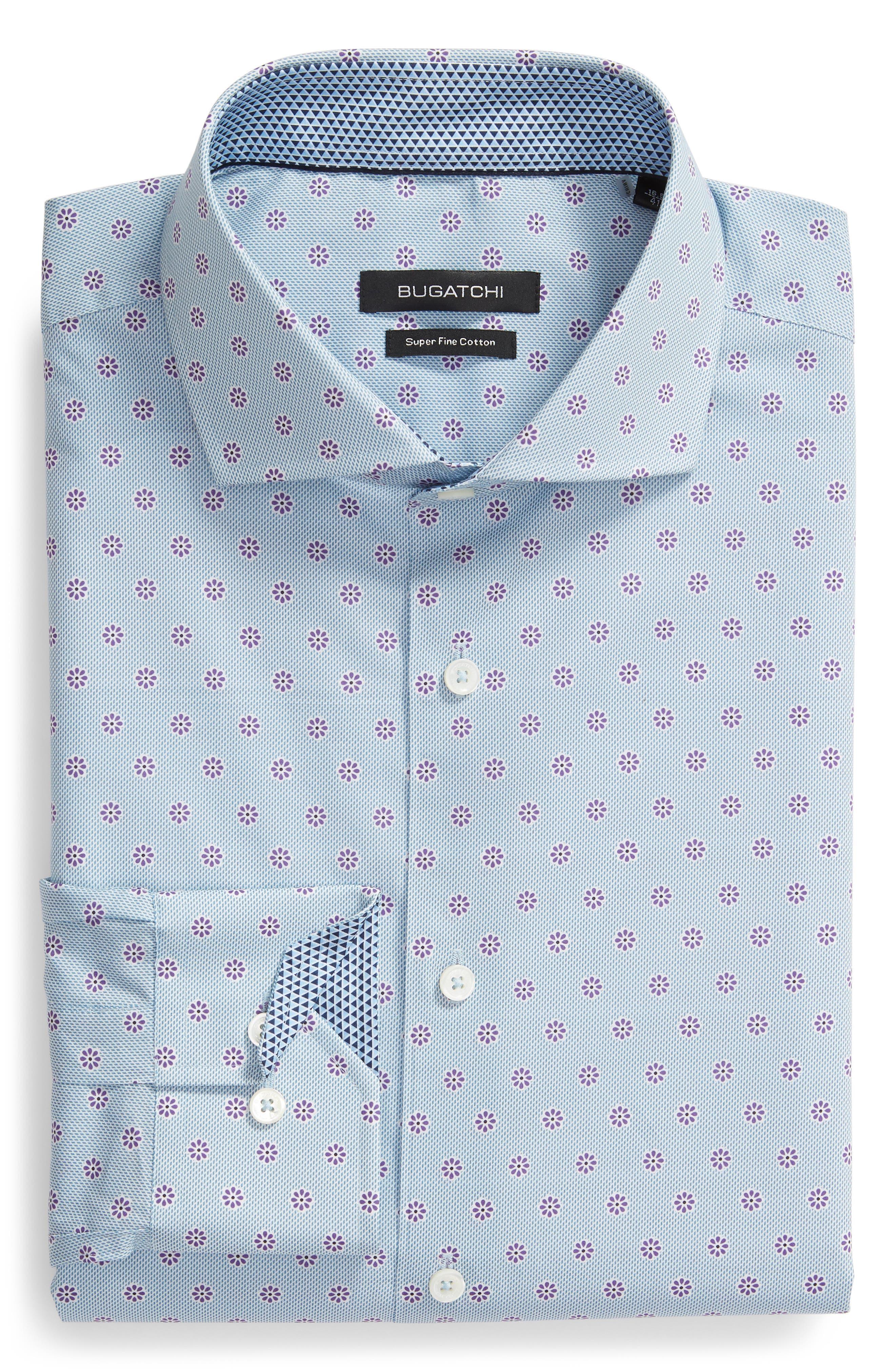 men's bugatchi trim fit floral dot print dress shirt, size 17 - blue
