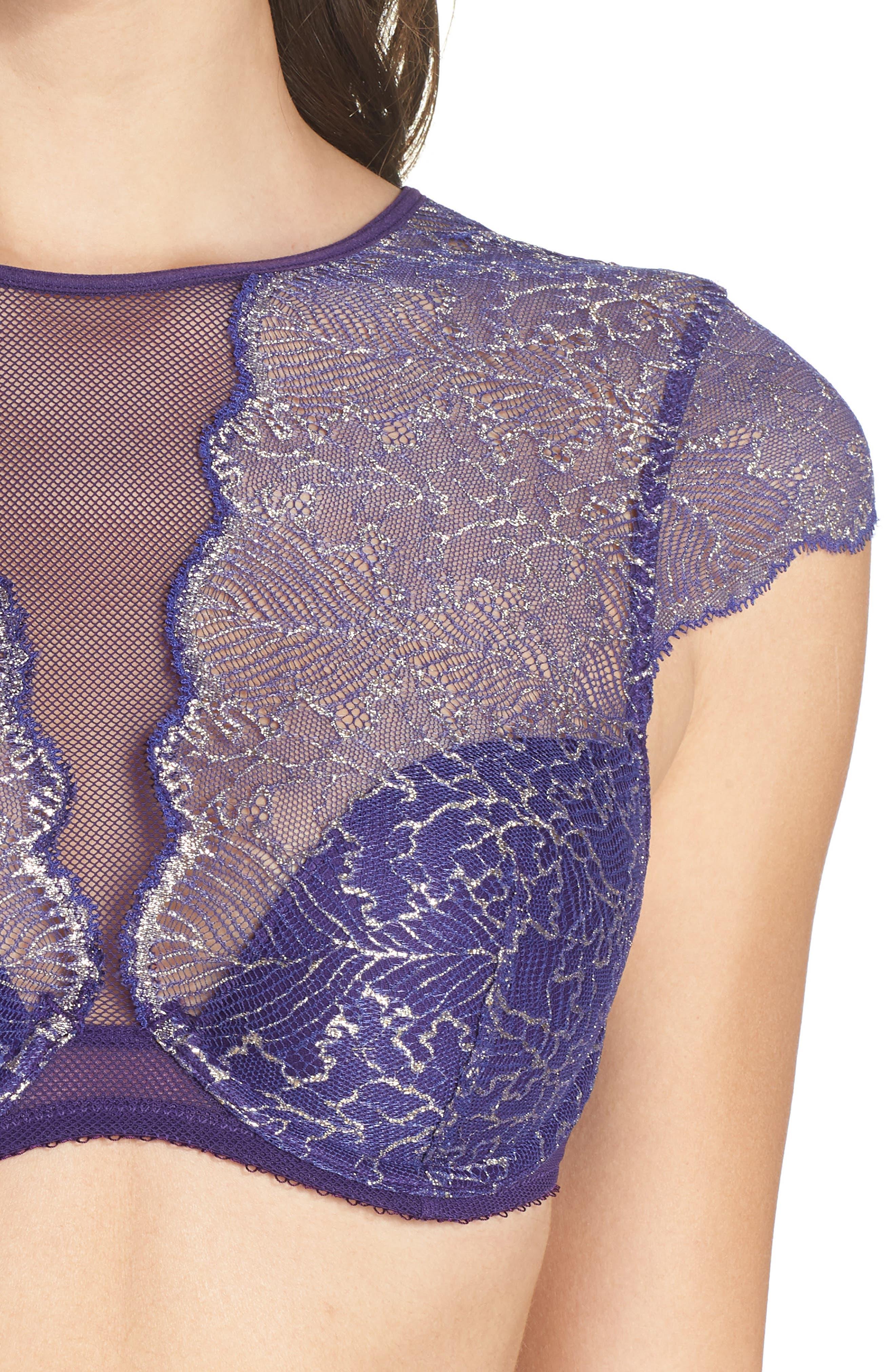 Lace Bralette,                             Alternate thumbnail 4, color,                             PARACHUTE PURPLE LUREX