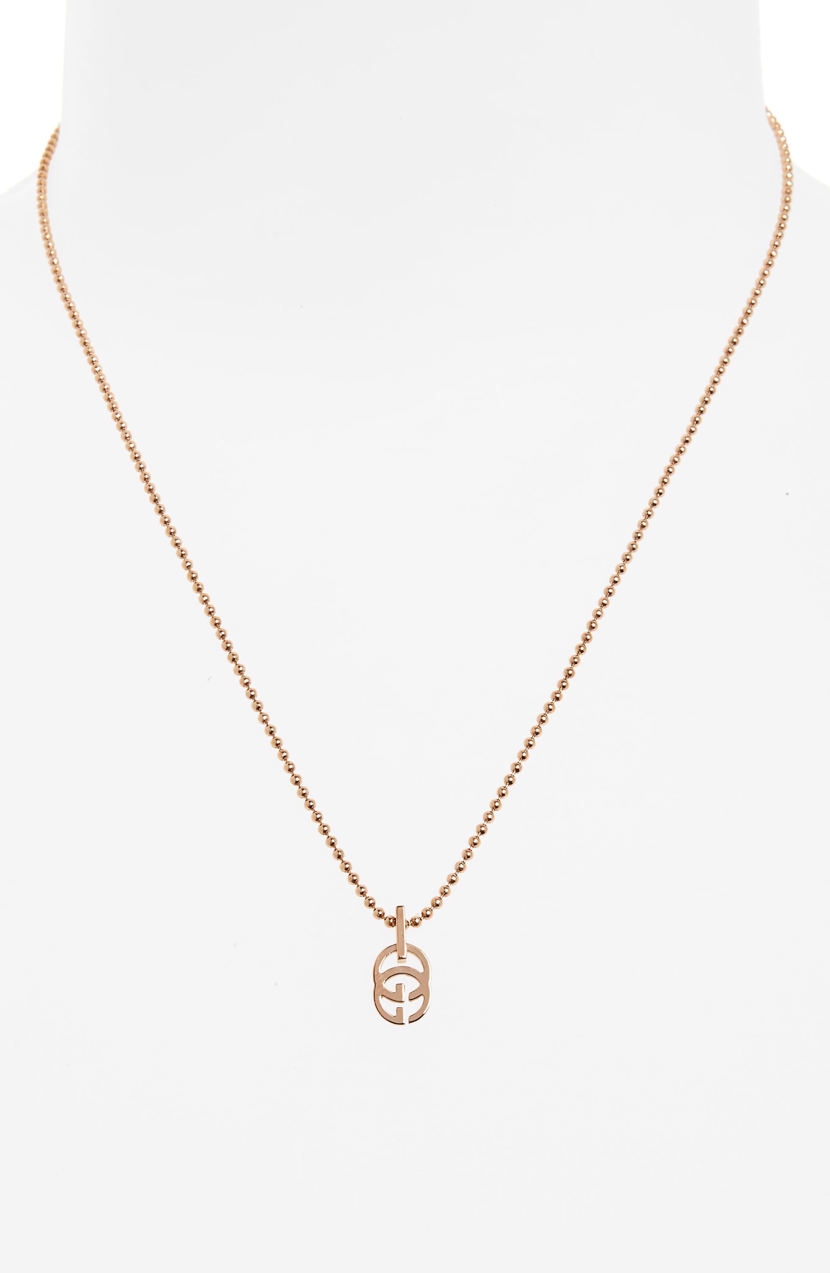 Double-G Pendant Necklace,                             Alternate thumbnail 2, color,                             ROSE GOLD