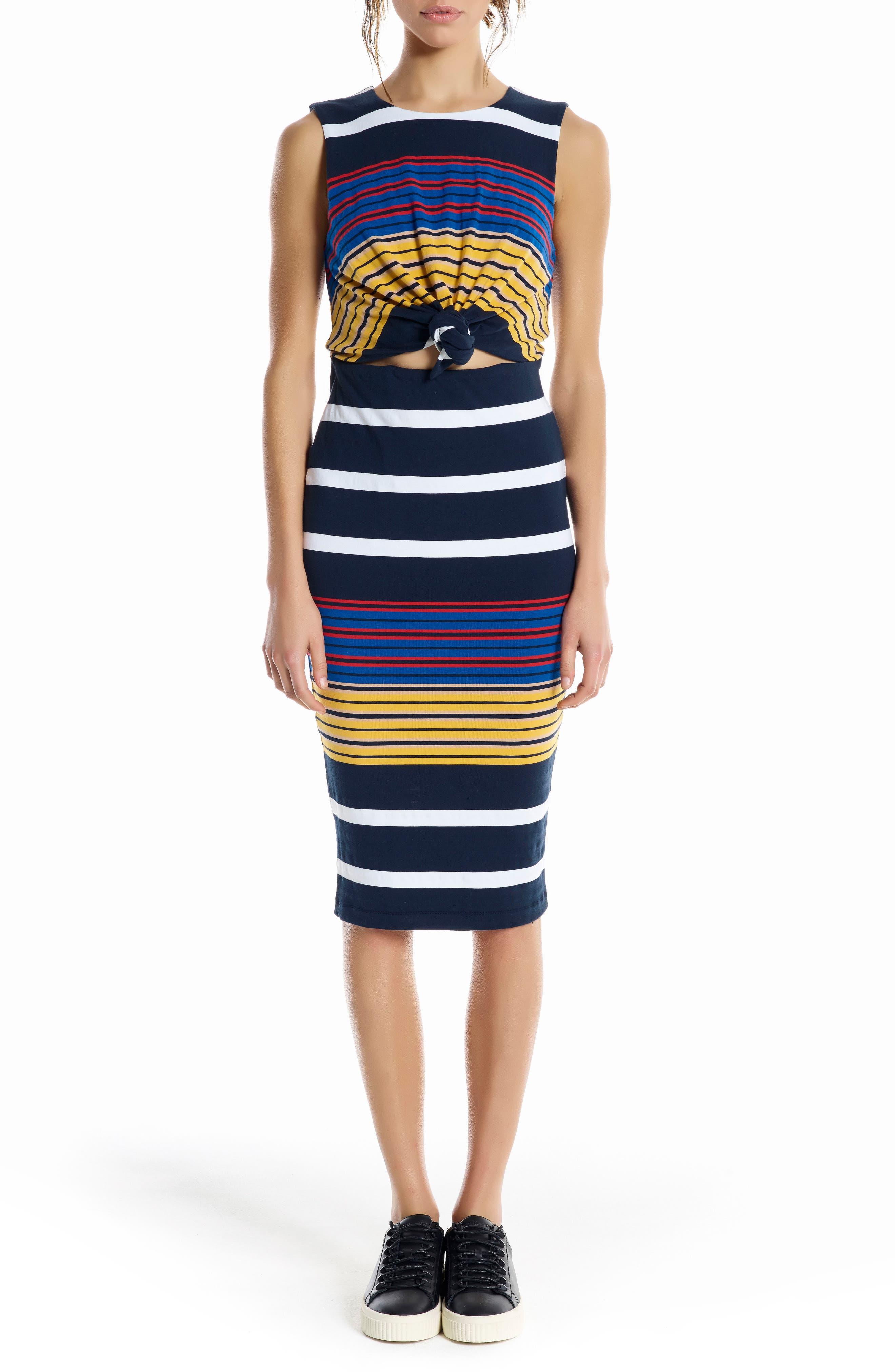 KENDELL + KYLIE Stripe Midi Dress,                             Main thumbnail 1, color,                             001