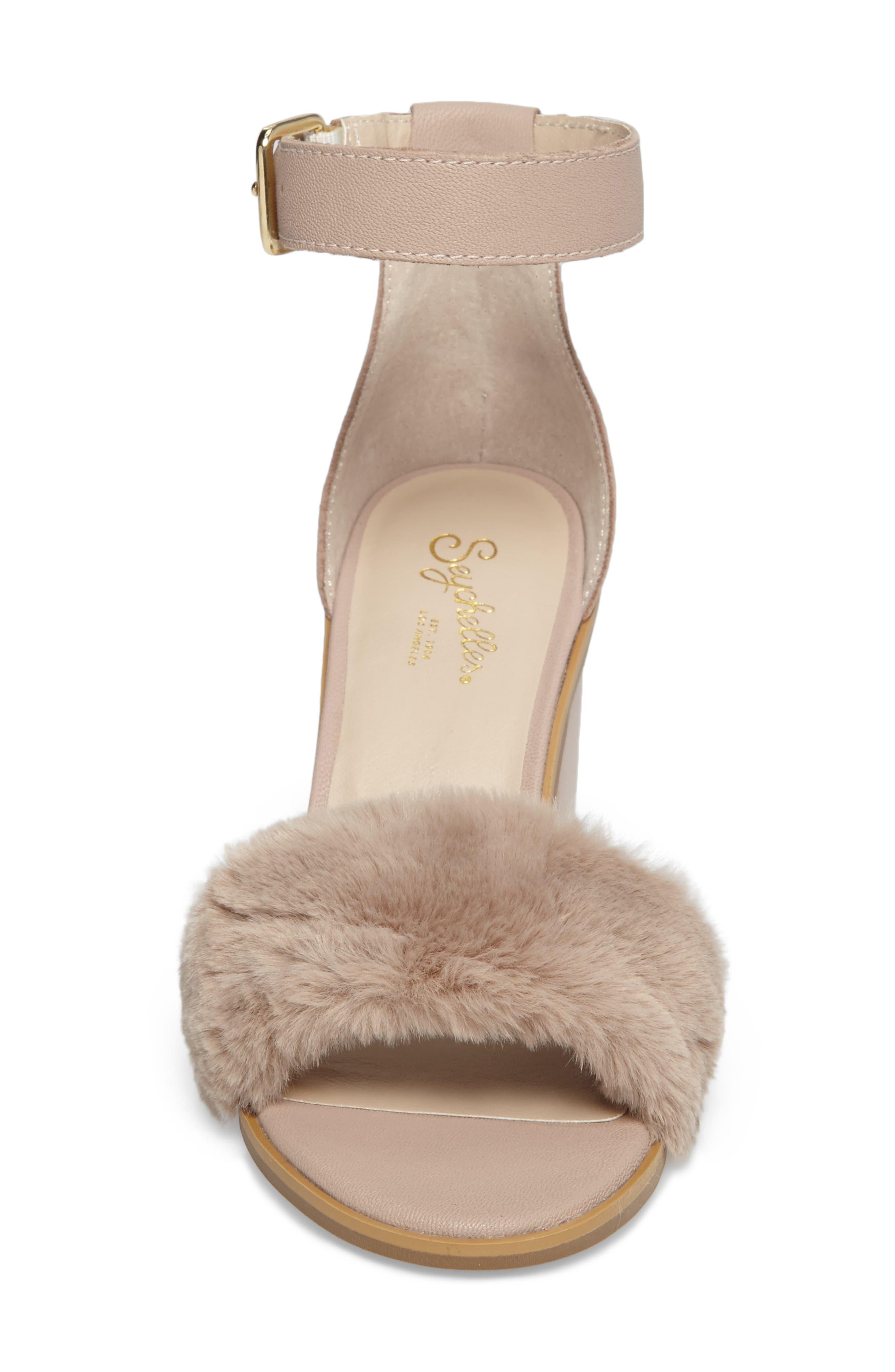 Faux Fur Ankle Strap Sandal,                             Alternate thumbnail 8, color,