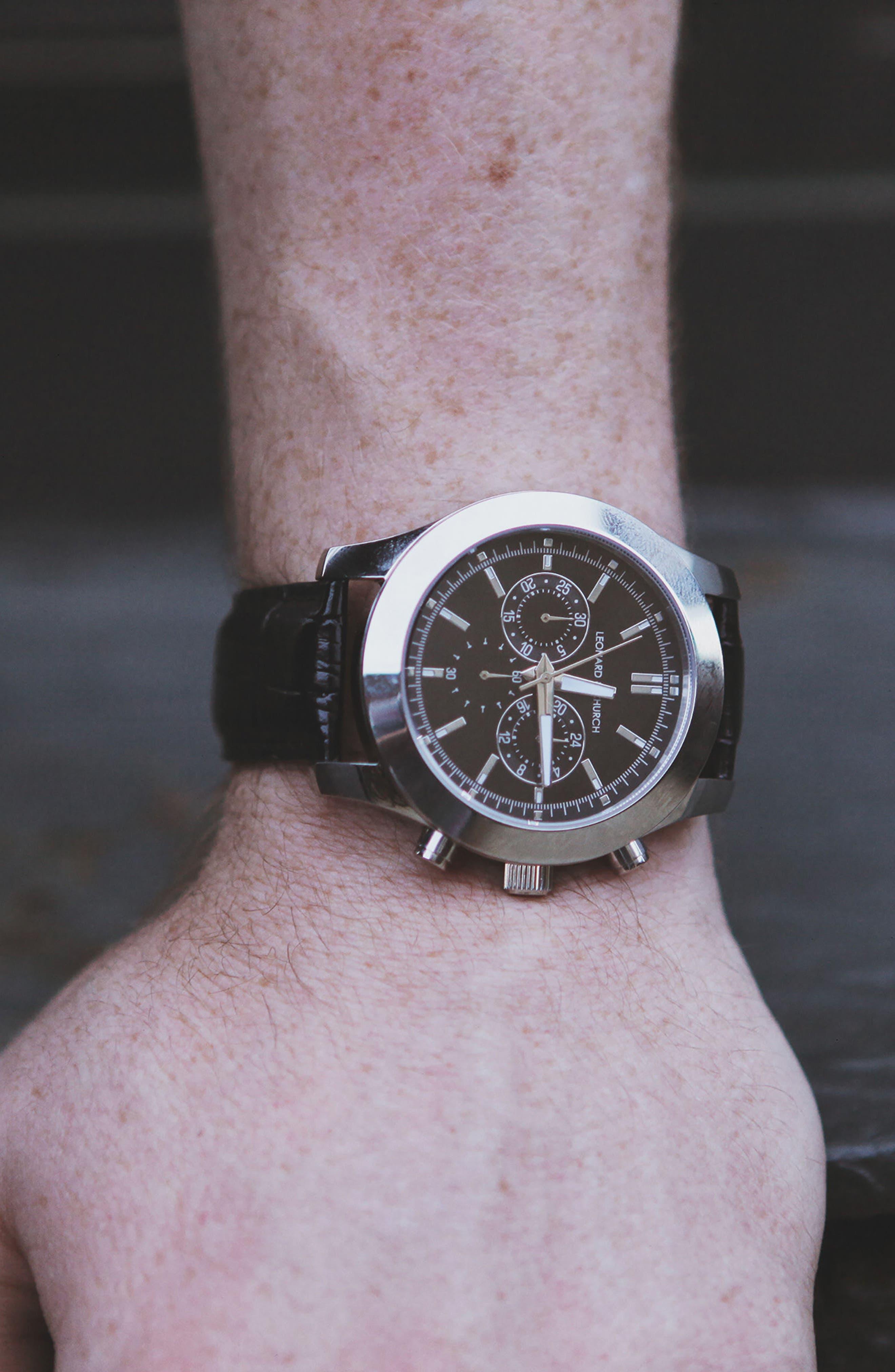 LEONARD & CHURCH,                             Astor Chronograph Leather Strap Watch, 45mm,                             Alternate thumbnail 4, color,                             001