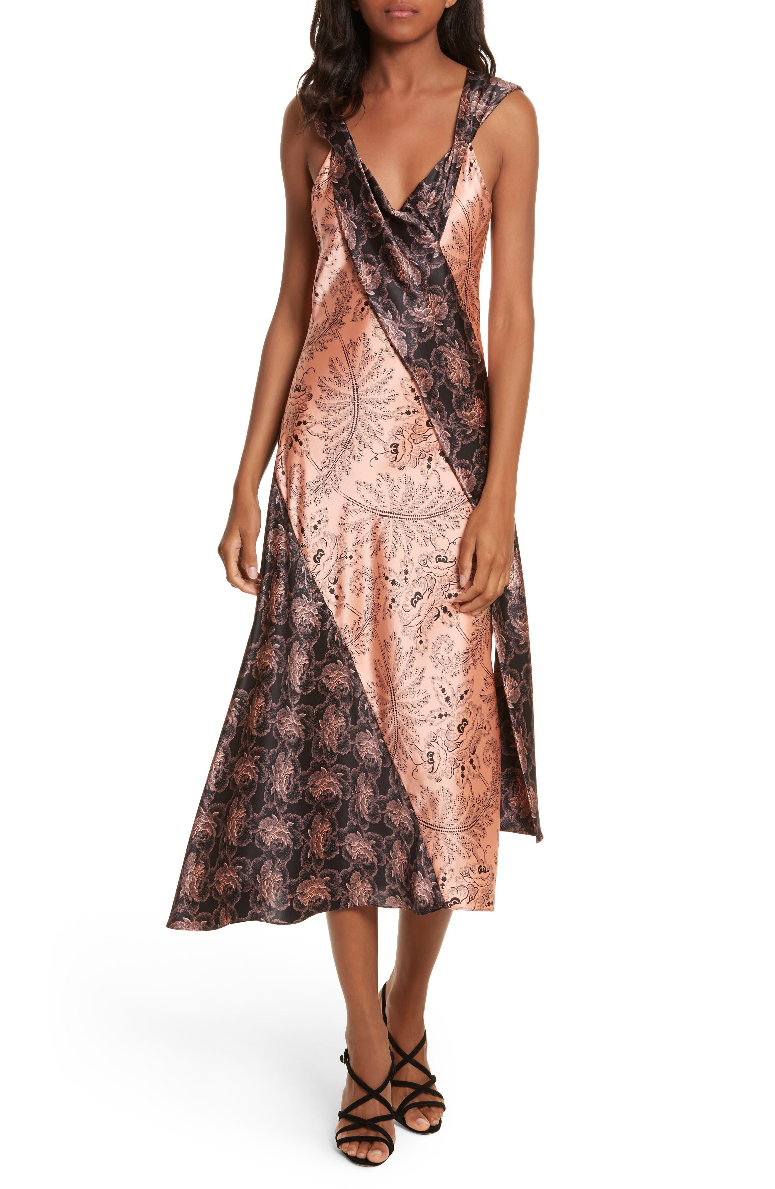Diane von Furstenberg Draped Mixed Floral Midi Dress,                             Main thumbnail 1, color,                             654