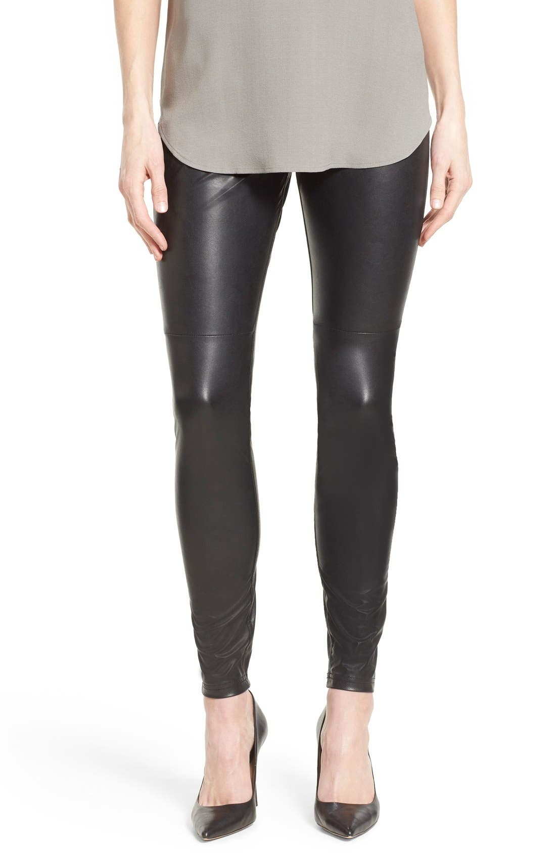 'Leatherette Skimmer' Faux Leather Leggings,                             Alternate thumbnail 3, color,                             001