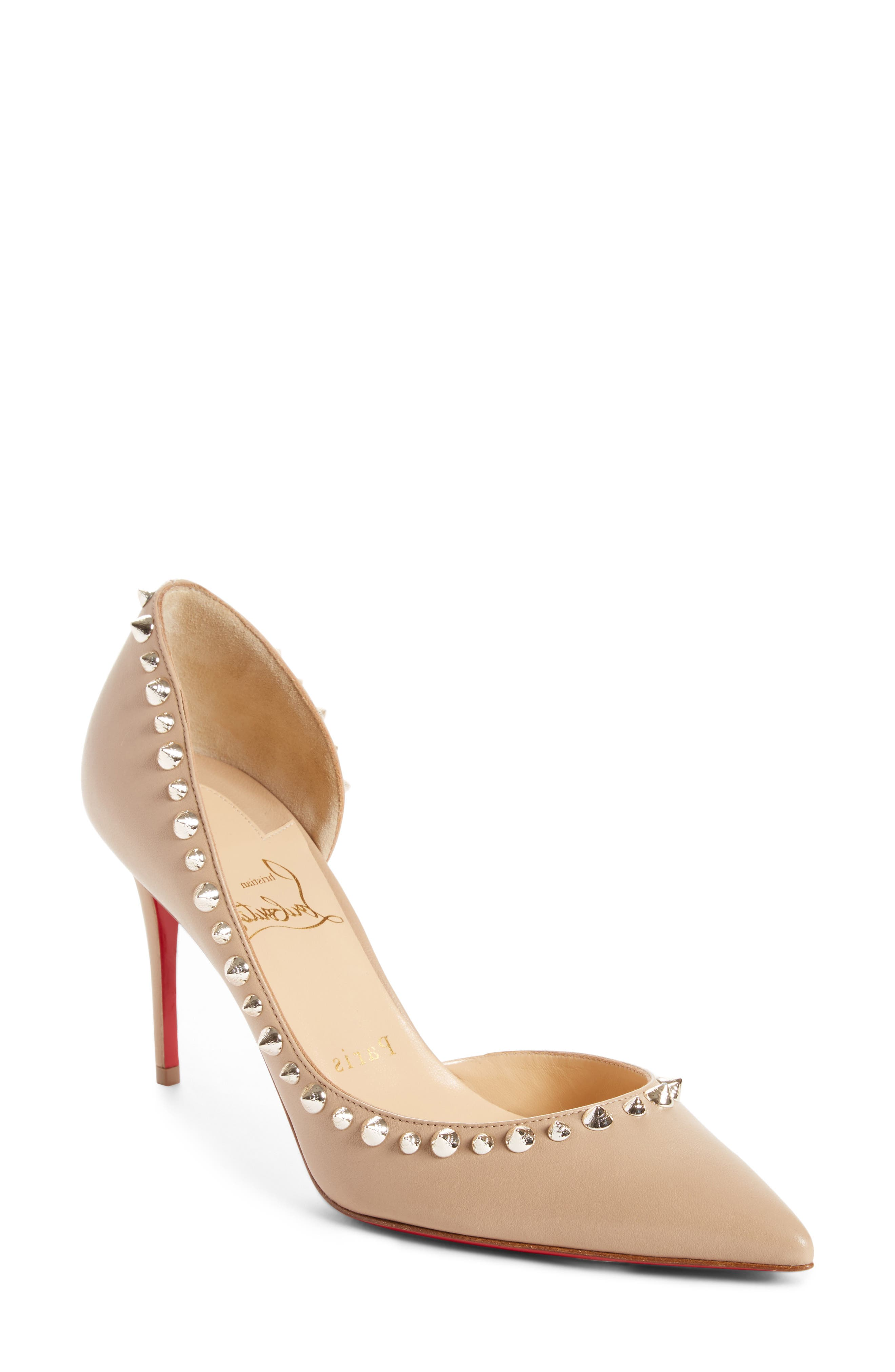 Irishell Studded Half d'Orsay Pump,                             Main thumbnail 1, color,                             NUDE/ WHITE GOLD