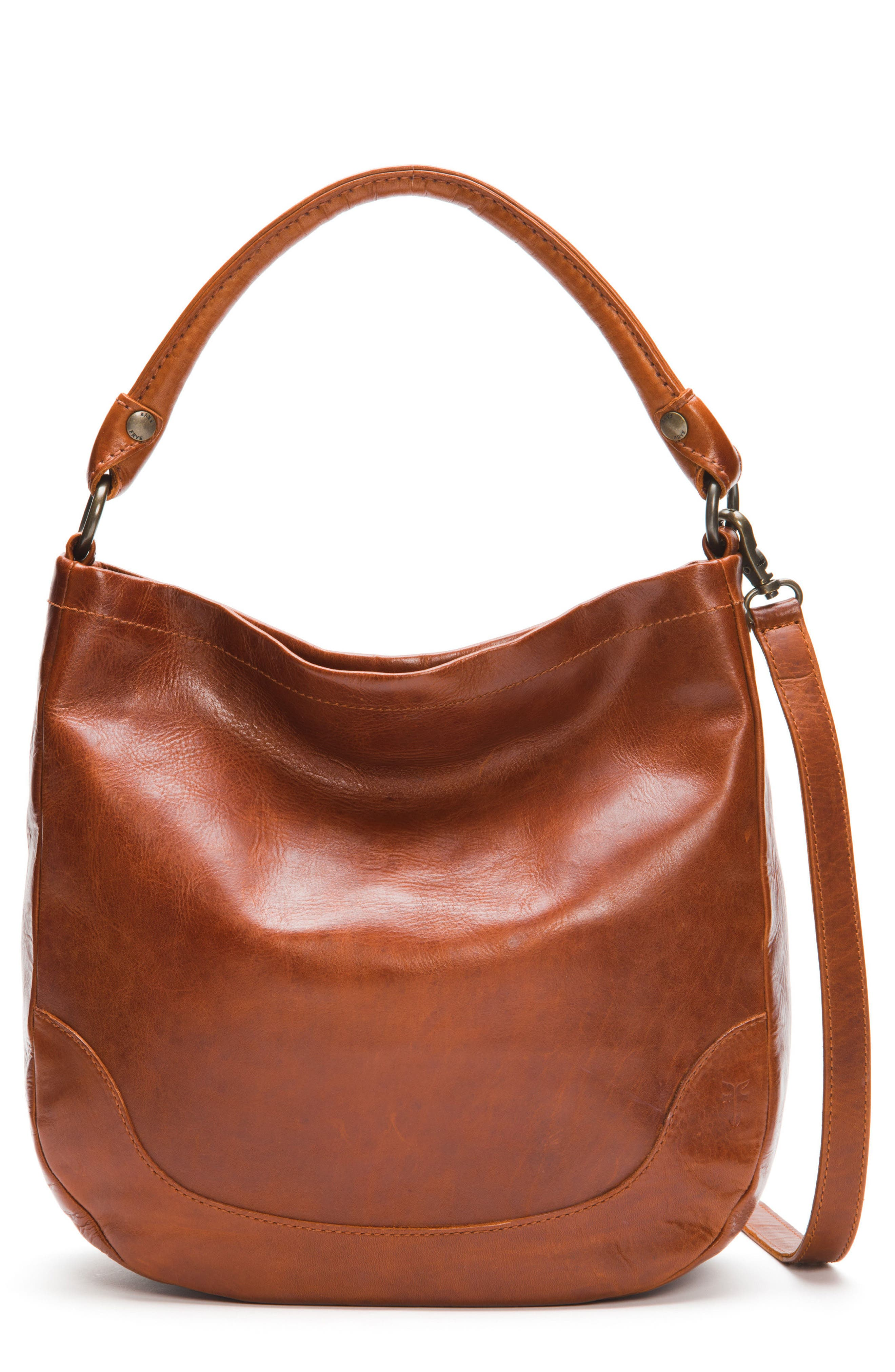 Melissa Leather Hobo,                         Main,                         color, RED CLAY